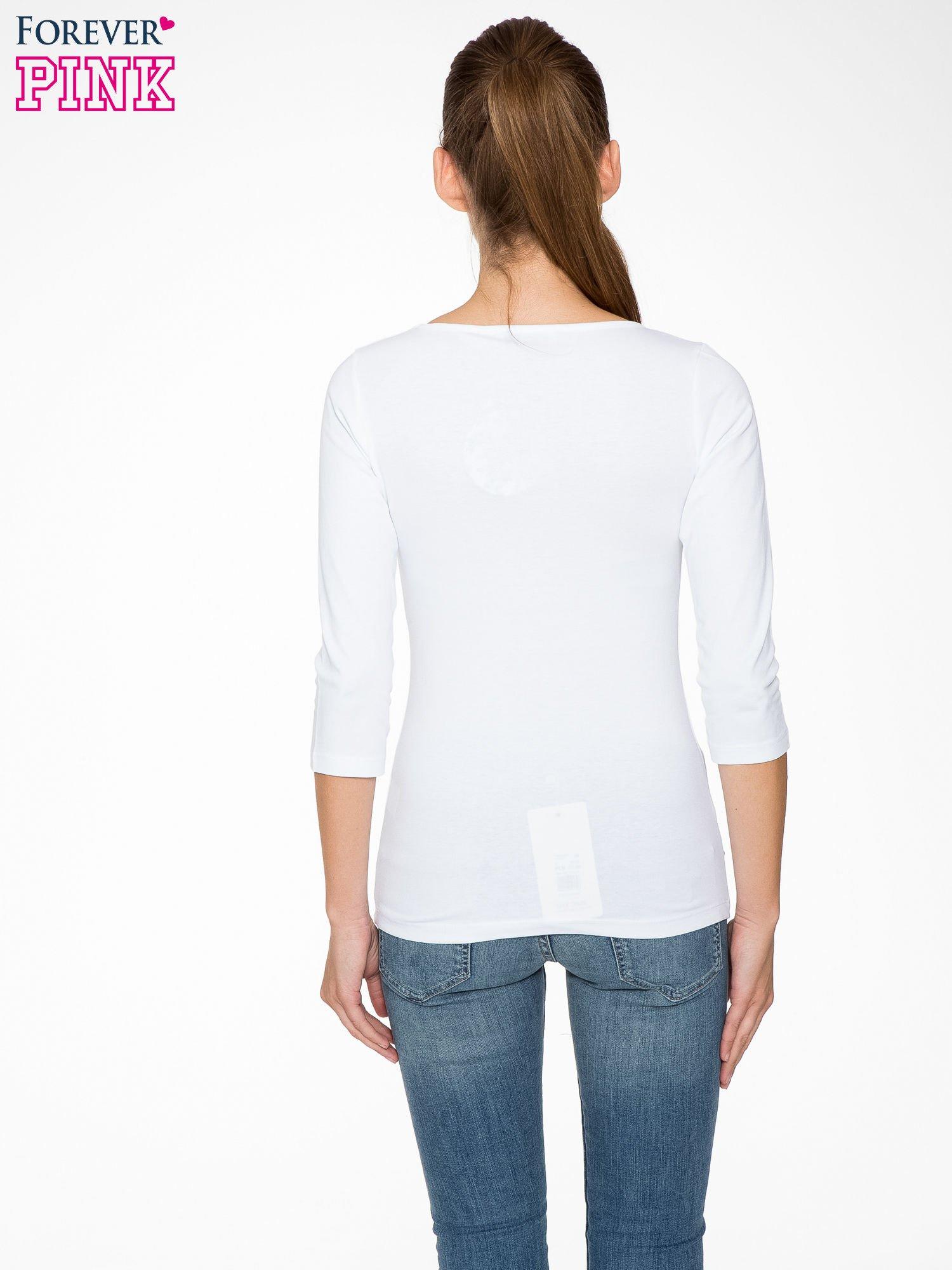 Biała gładka bluza z bawełny z rękawami 3/4                                  zdj.                                  4