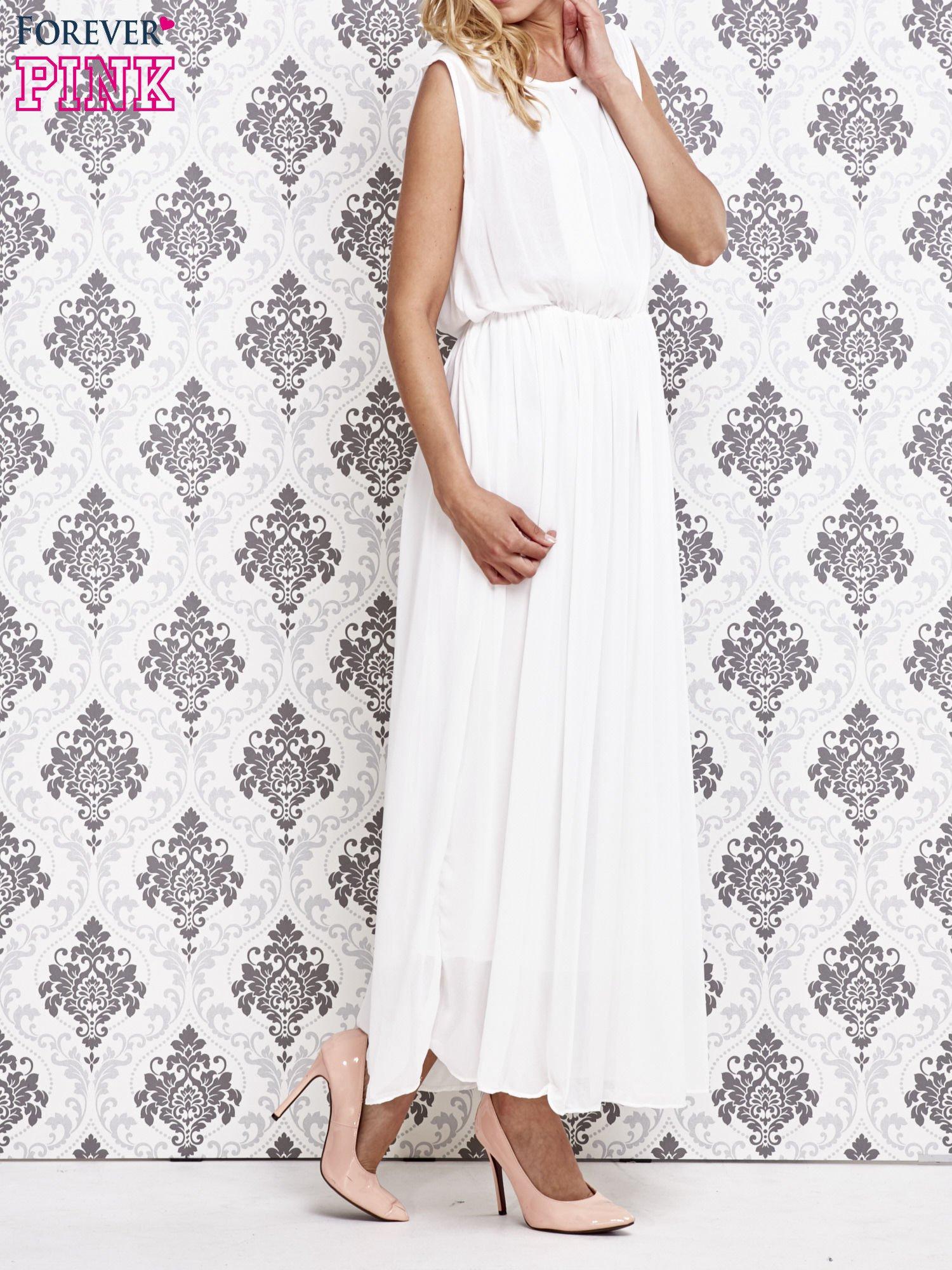 Biała grecka sukienka maxi z koronką z tyłu                                  zdj.                                  3