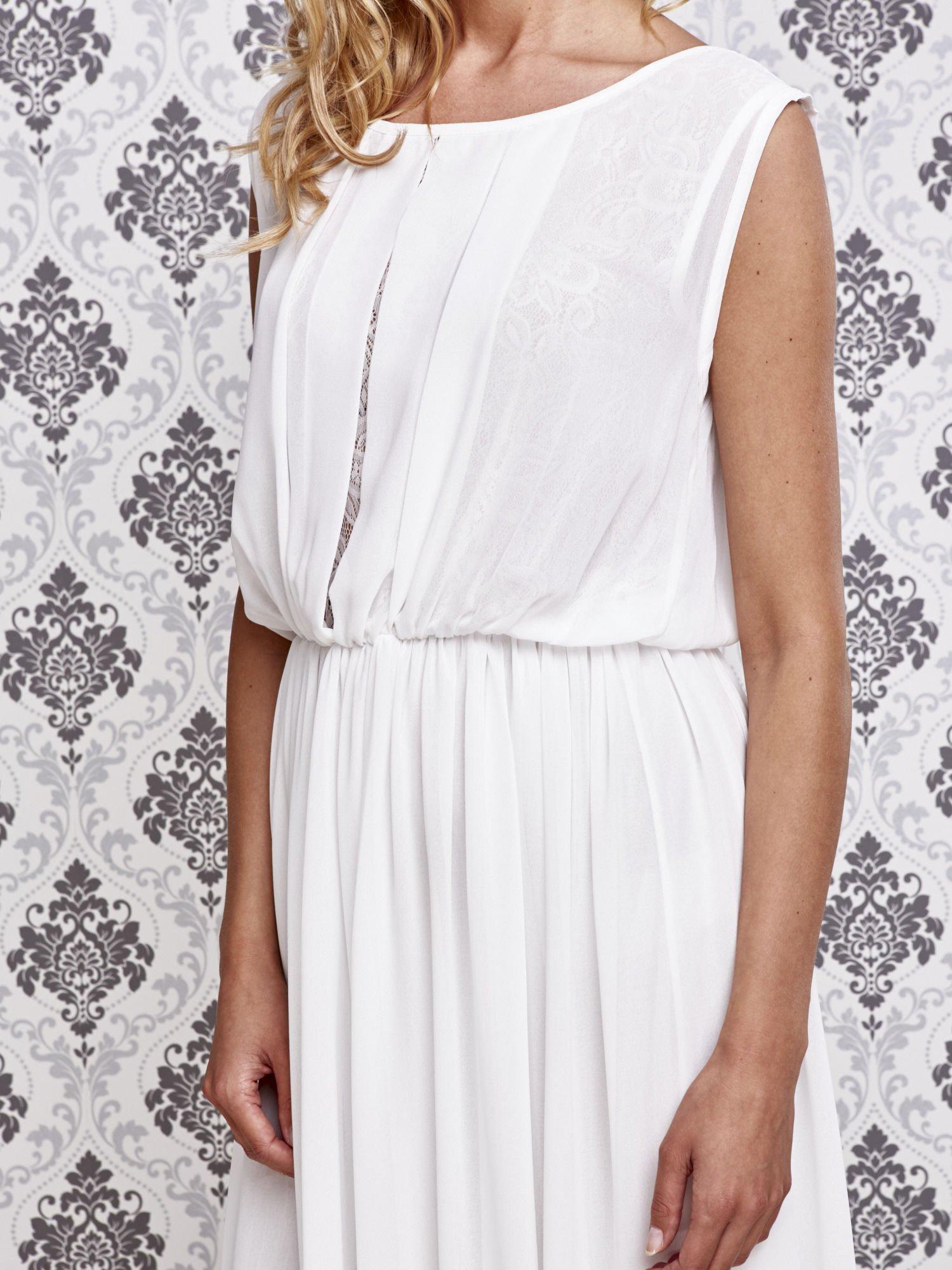 Biała grecka sukienka maxi z koronką z tyłu                                  zdj.                                  5