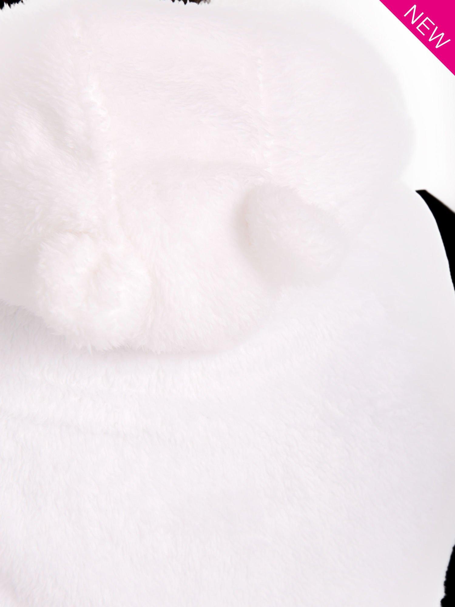 Biała kamizelka z kapturem z uszkami i pomponami                                  zdj.                                  4