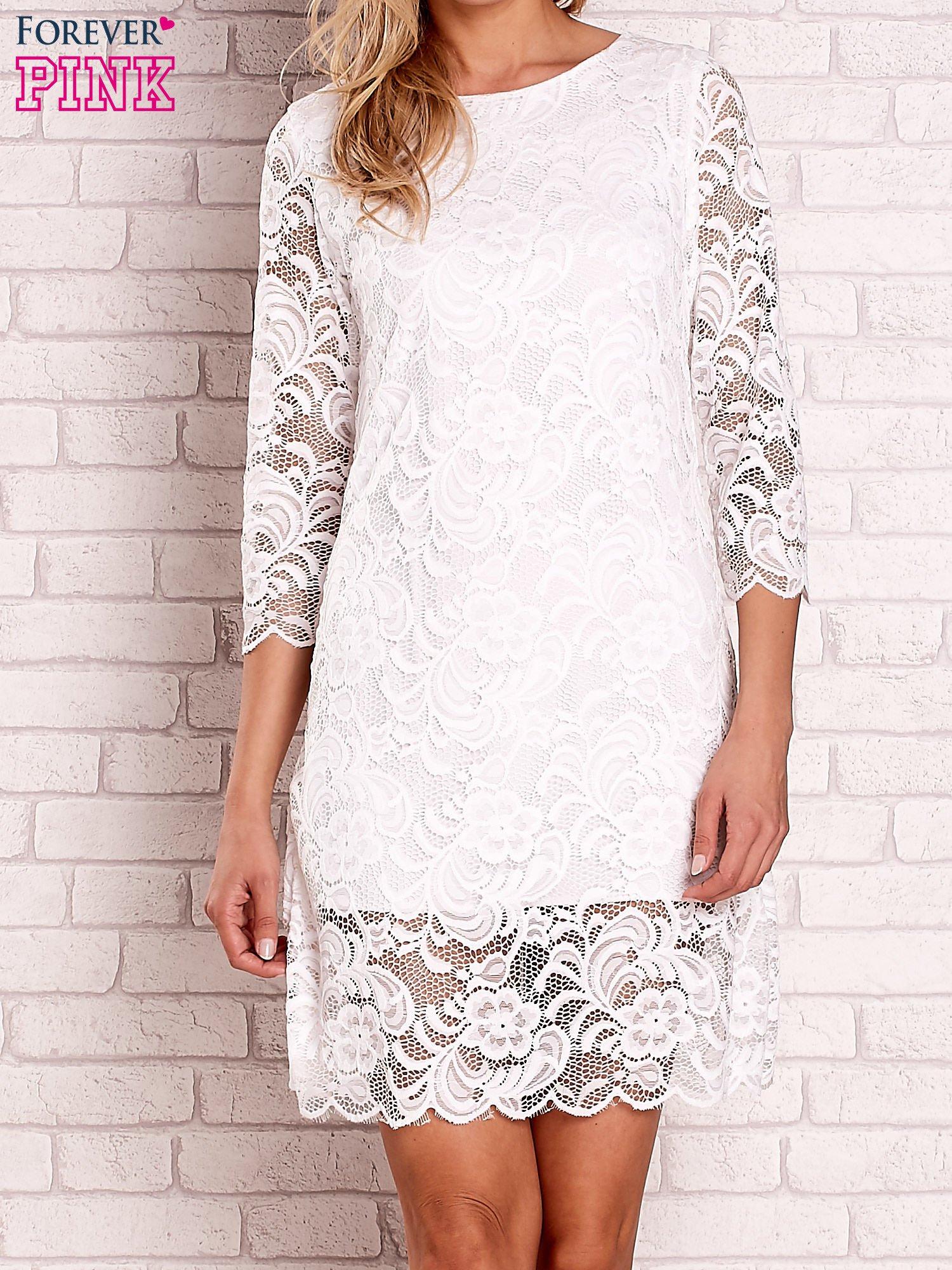 Biała koronkowa sukienka z wiązaniem na plecach                                  zdj.                                  1