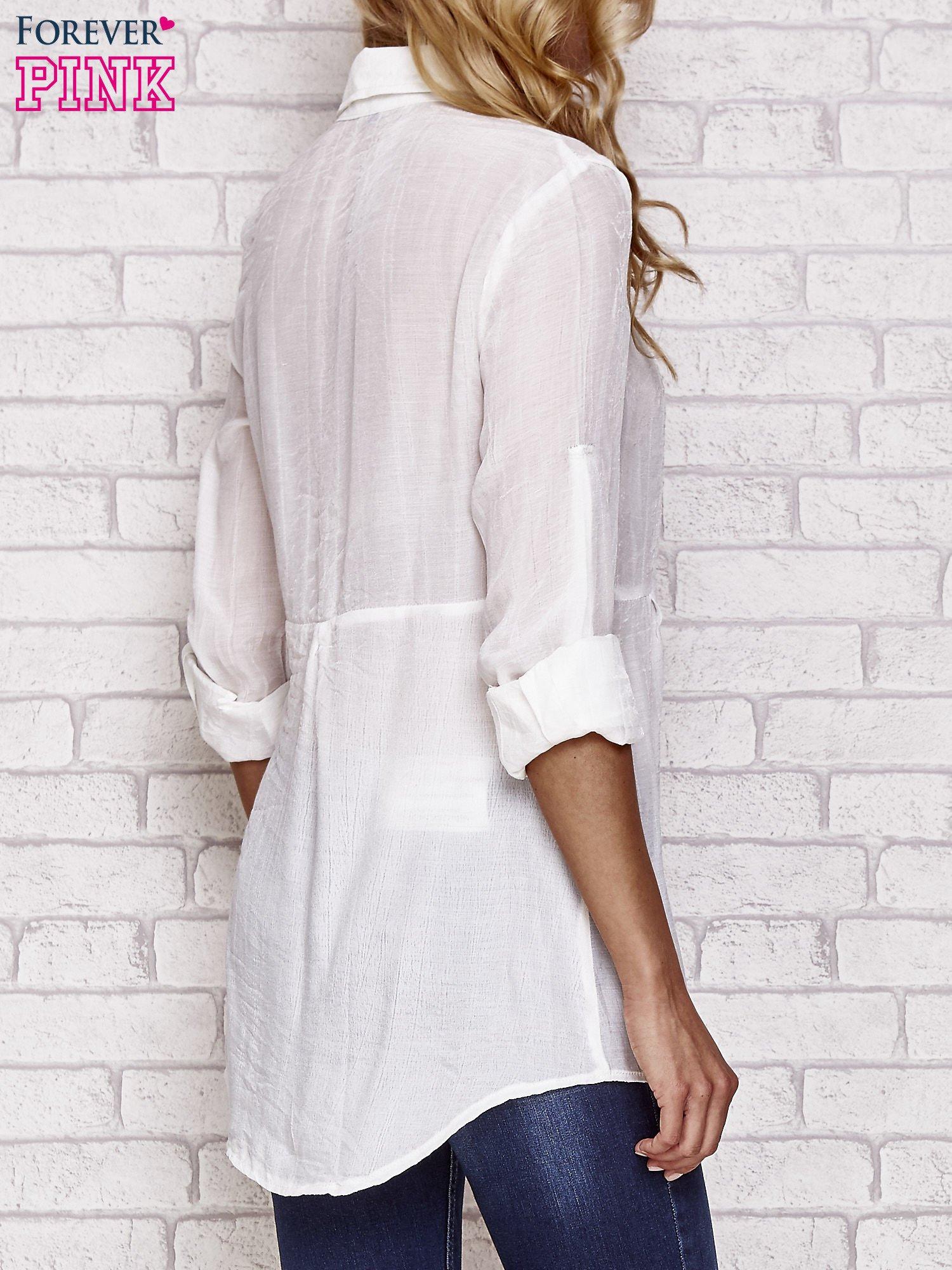 Biała koszula hippie z haftem                                  zdj.                                  2