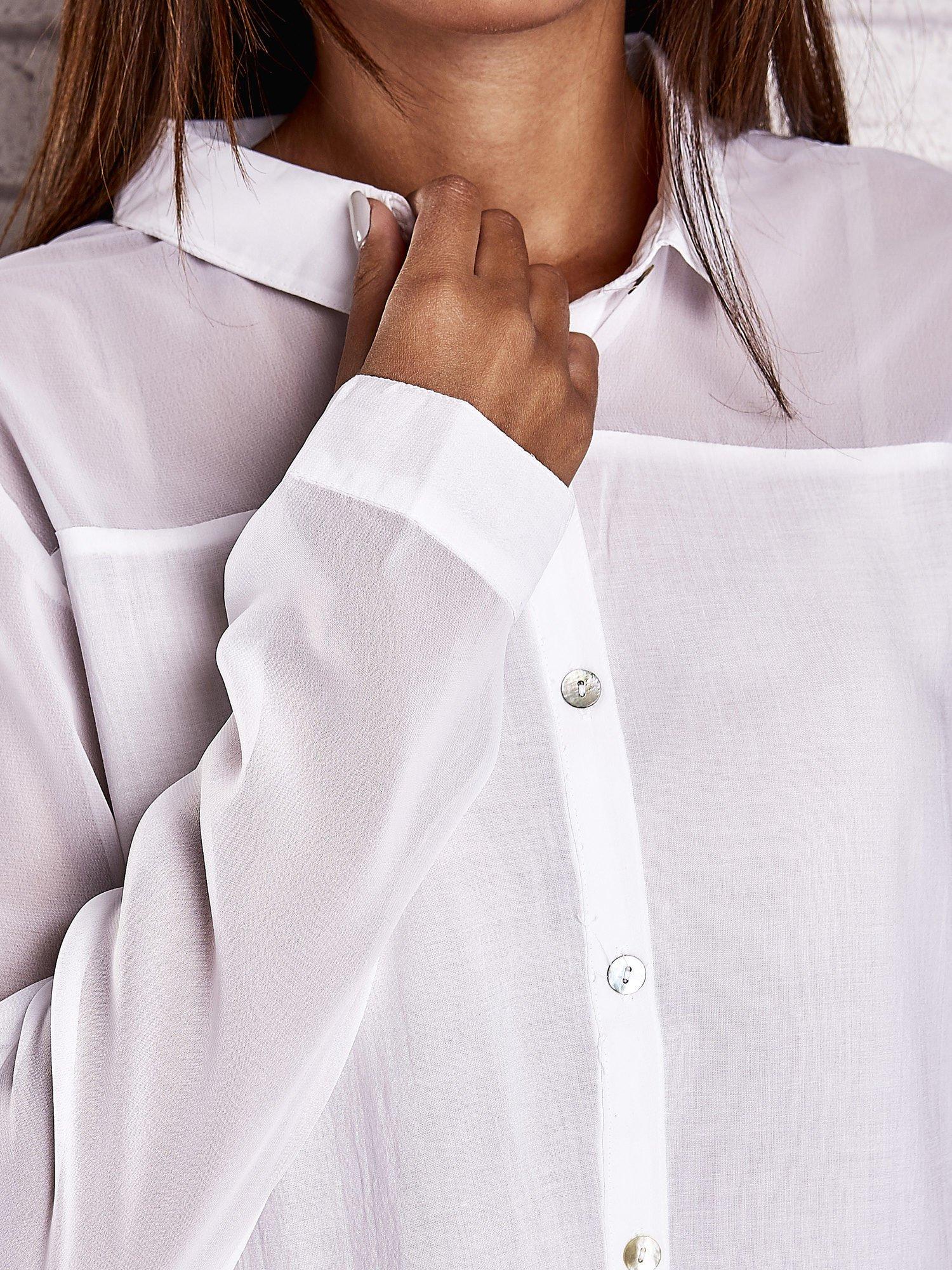 Biała koszula mgiełka z dłuższym tyłem                                  zdj.                                  6