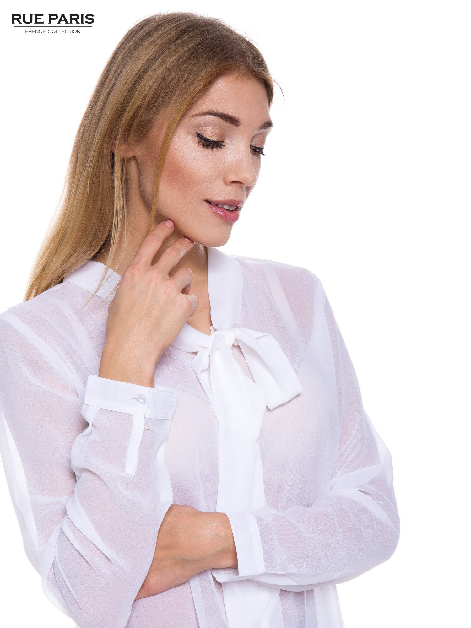 Biała koszula mgiełka z kokardą                                  zdj.                                  4