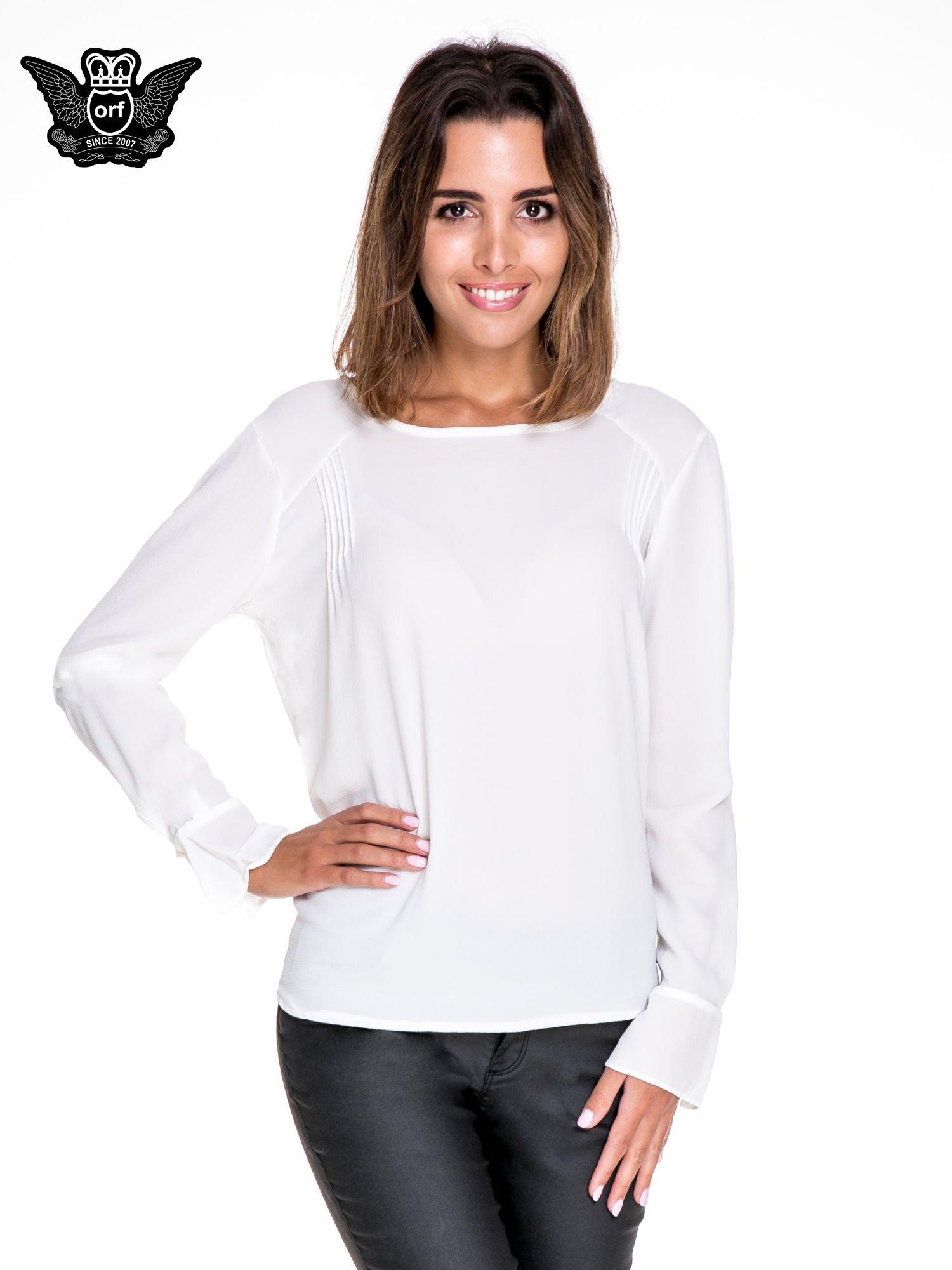 Biała koszula z wycięciem na plecach                                  zdj.                                  1