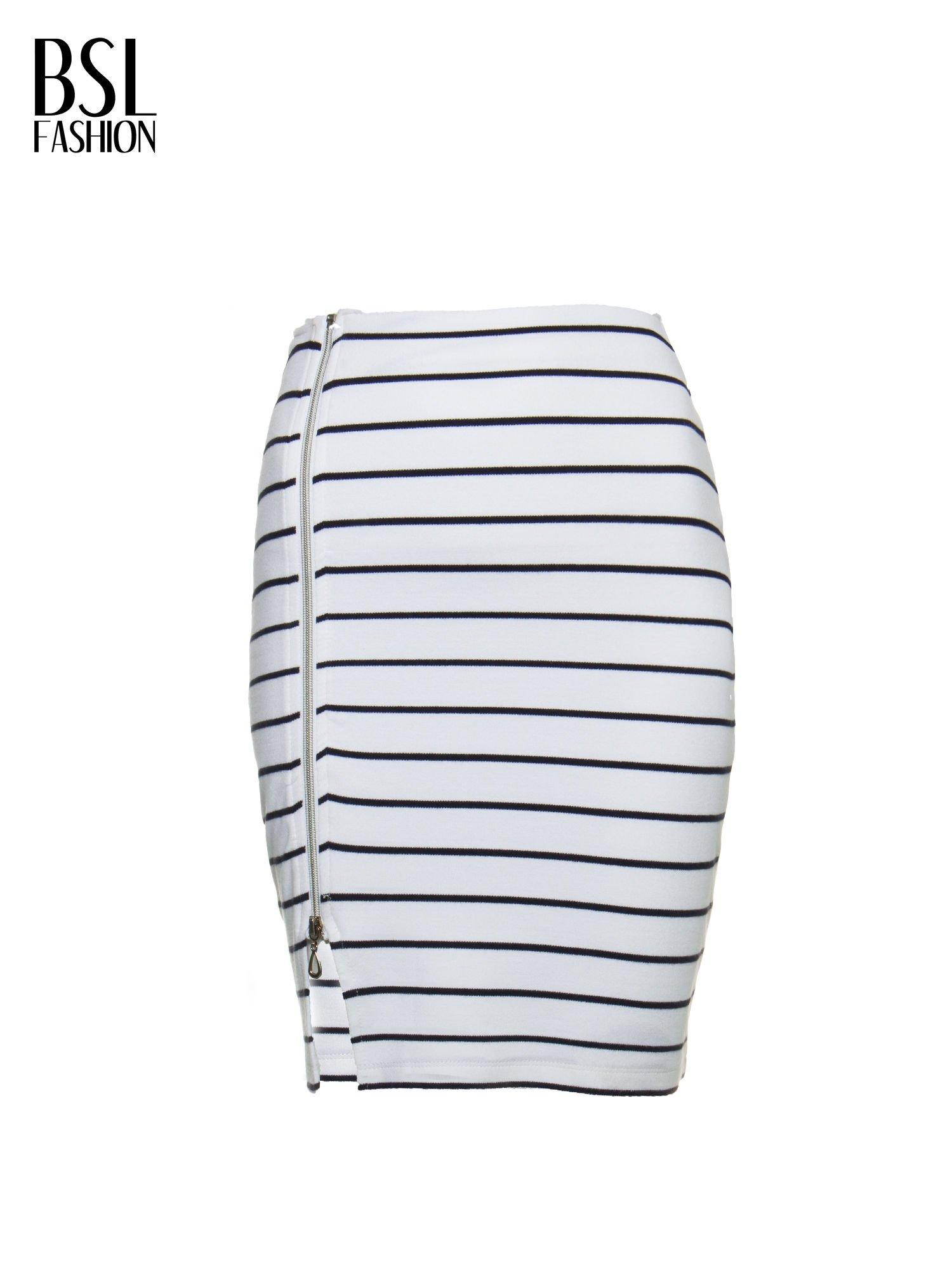 Biała mini spódnica w paski z suwakiem z boku                                  zdj.                                  5