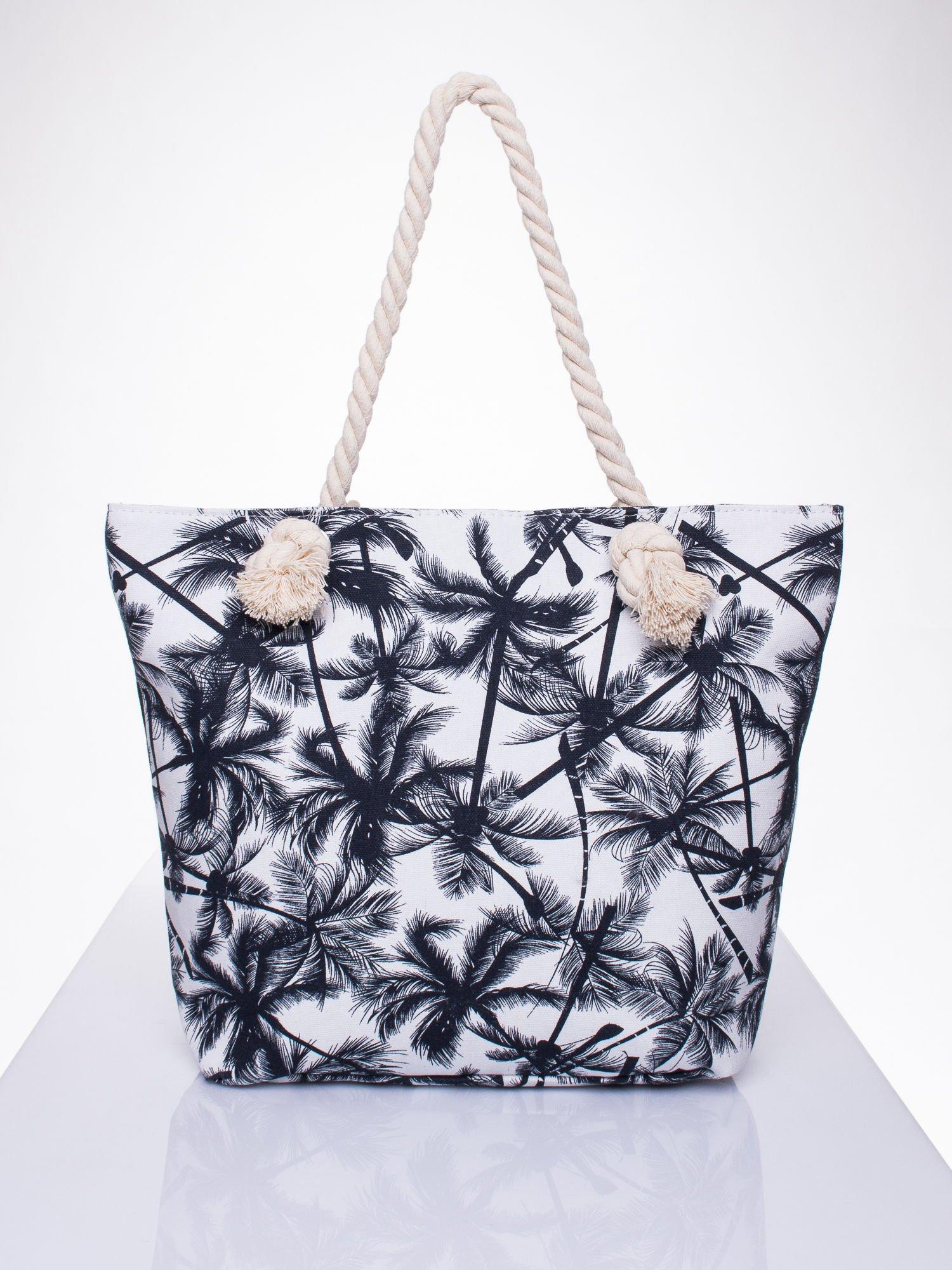 Biała plażowa torba w palmy na sznurku                                  zdj.                                  1