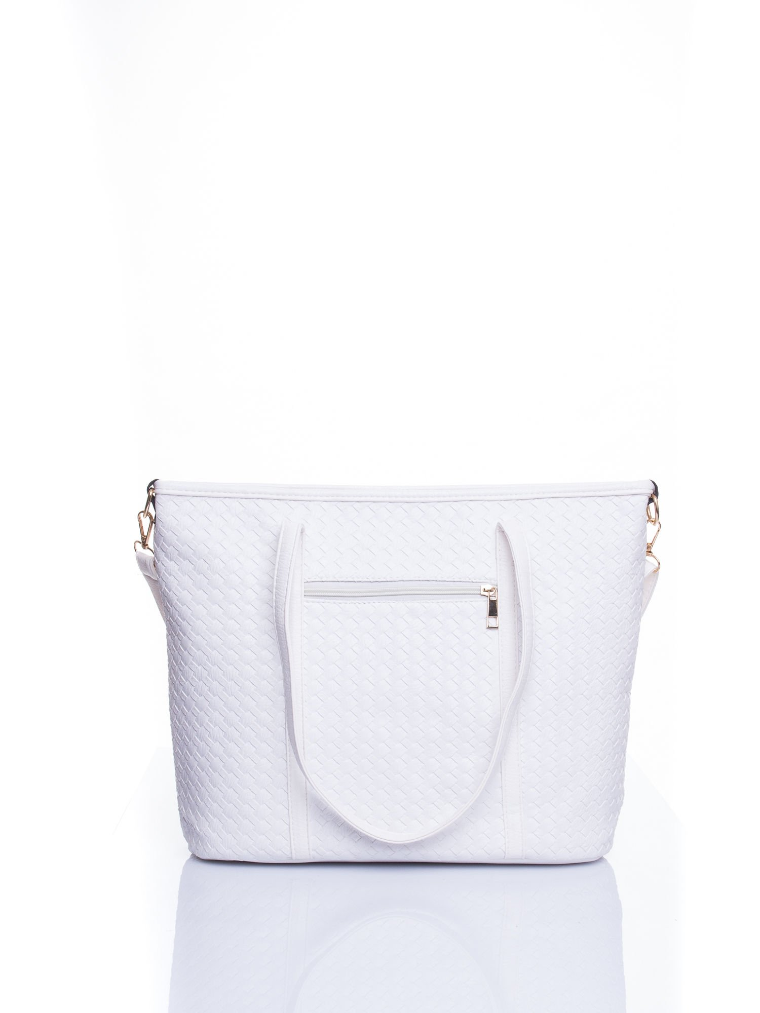 Biała pleciona torba shopper bag ze złotym detalem                                  zdj.                                  3