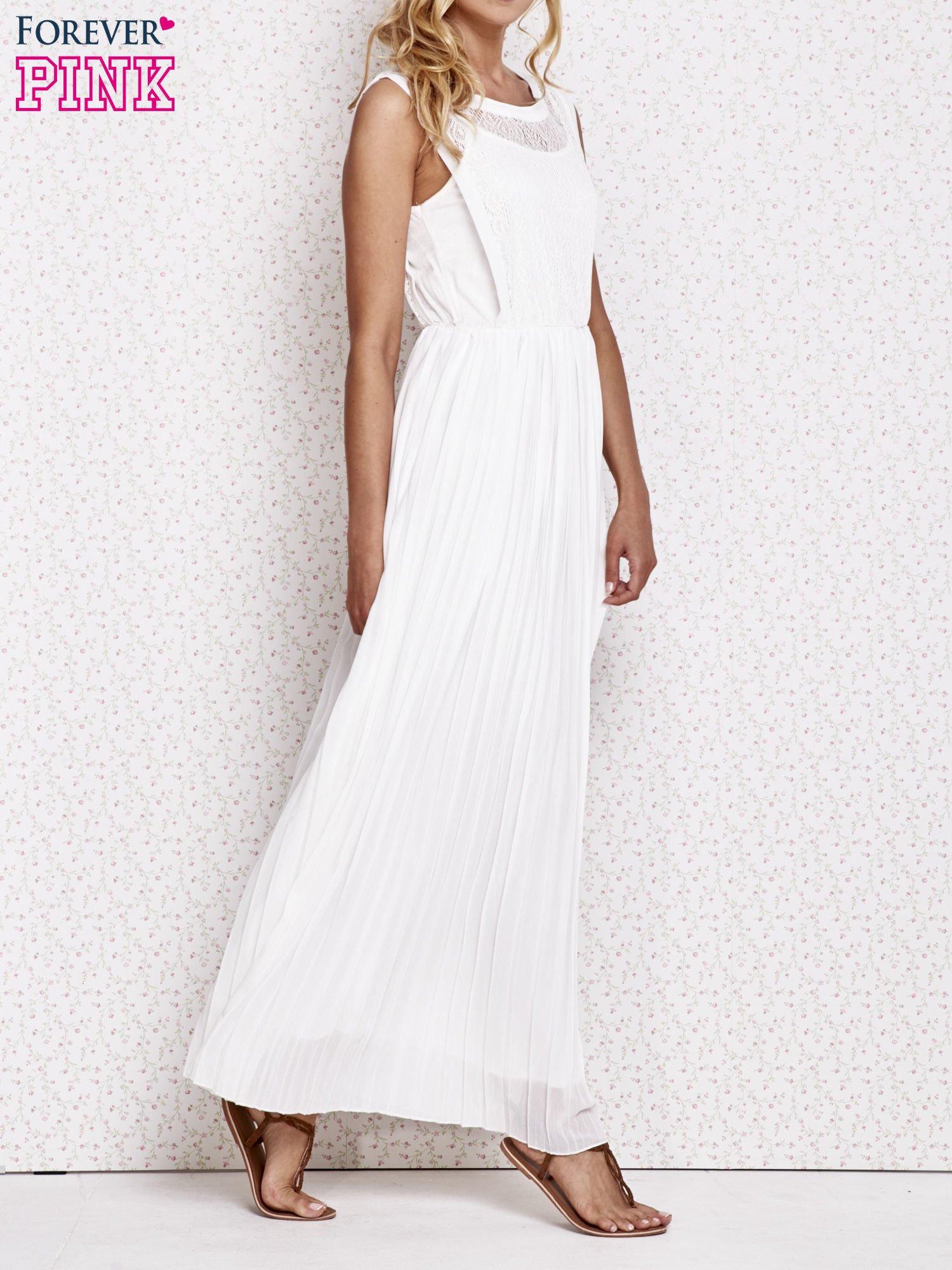 Biała sukienka maxi z koronkowym przodem                                  zdj.                                  3