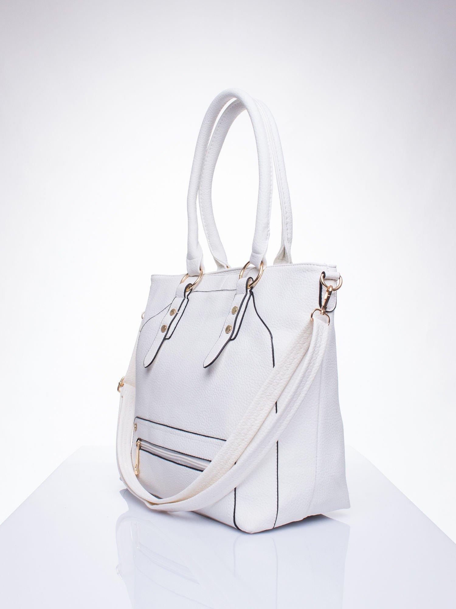Biała torba shopper bag z suwakiem                                  zdj.                                  2