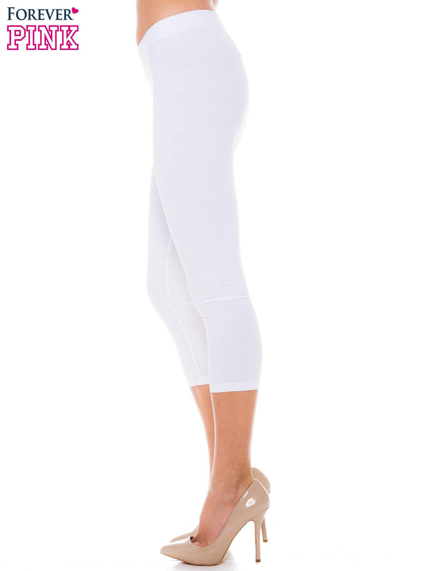 Białe bawełniane legginsy 3/4                                  zdj.                                  2