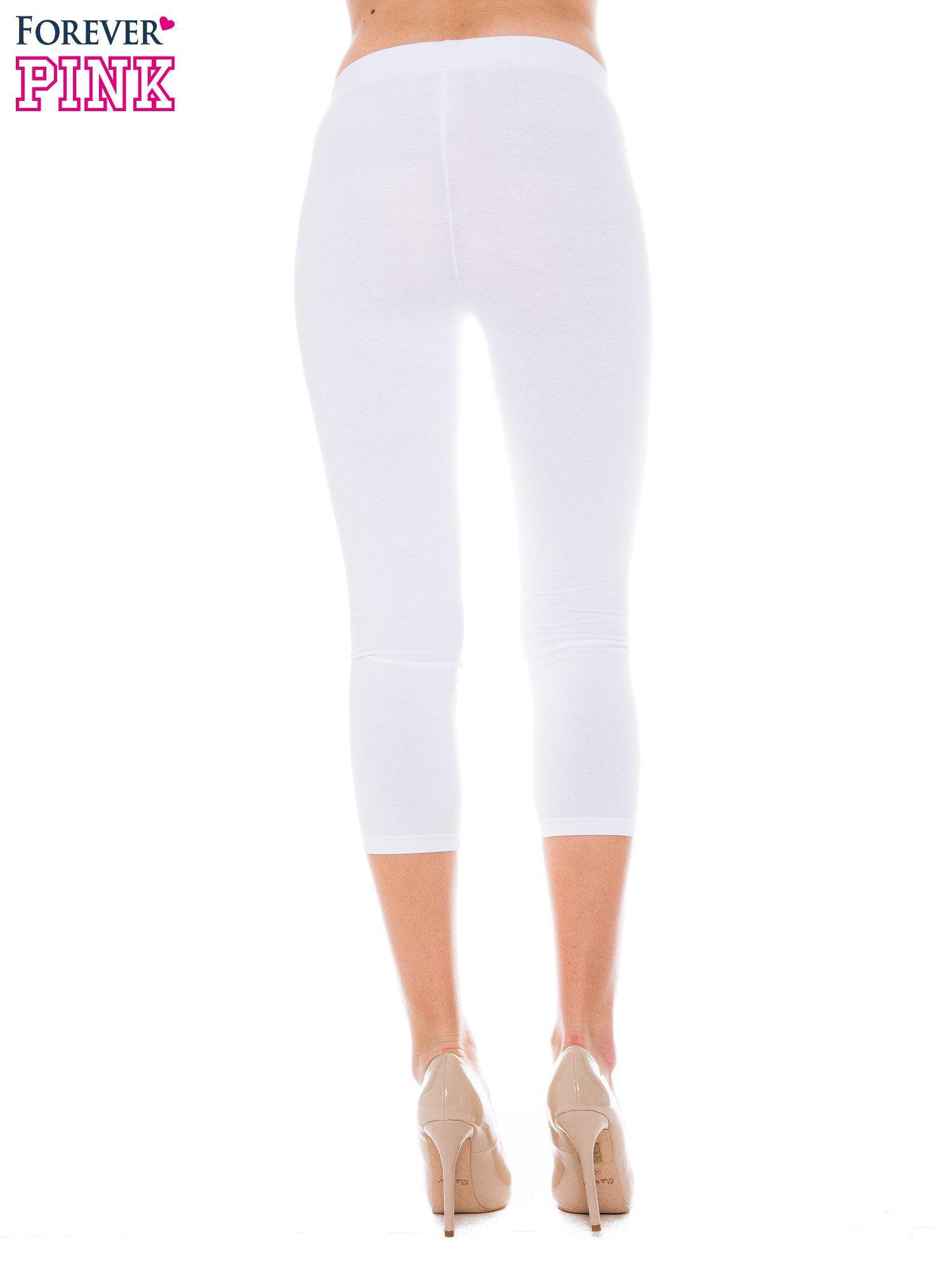 Białe bawełniane legginsy 3/4                                  zdj.                                  3