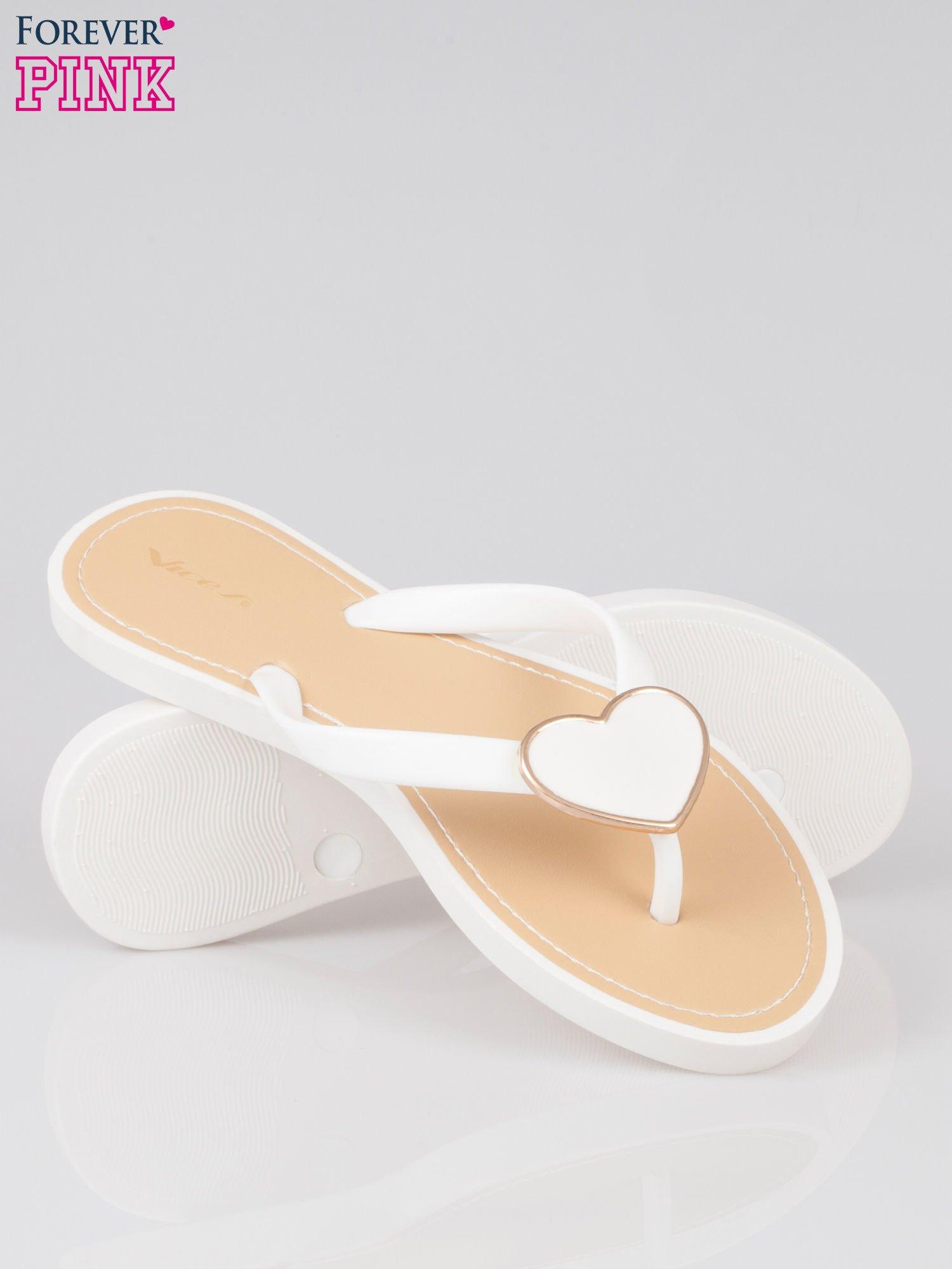 Białe klapki japonki ze złotym serduszkiem                                  zdj.                                  4