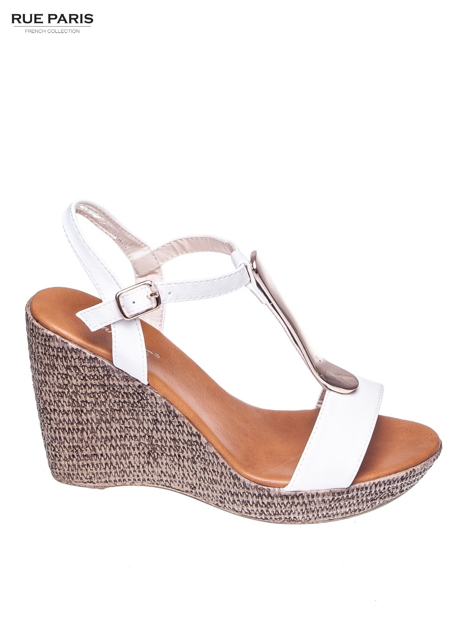 Białe letnie sandały t-bary na koturnie                                  zdj.                                  1
