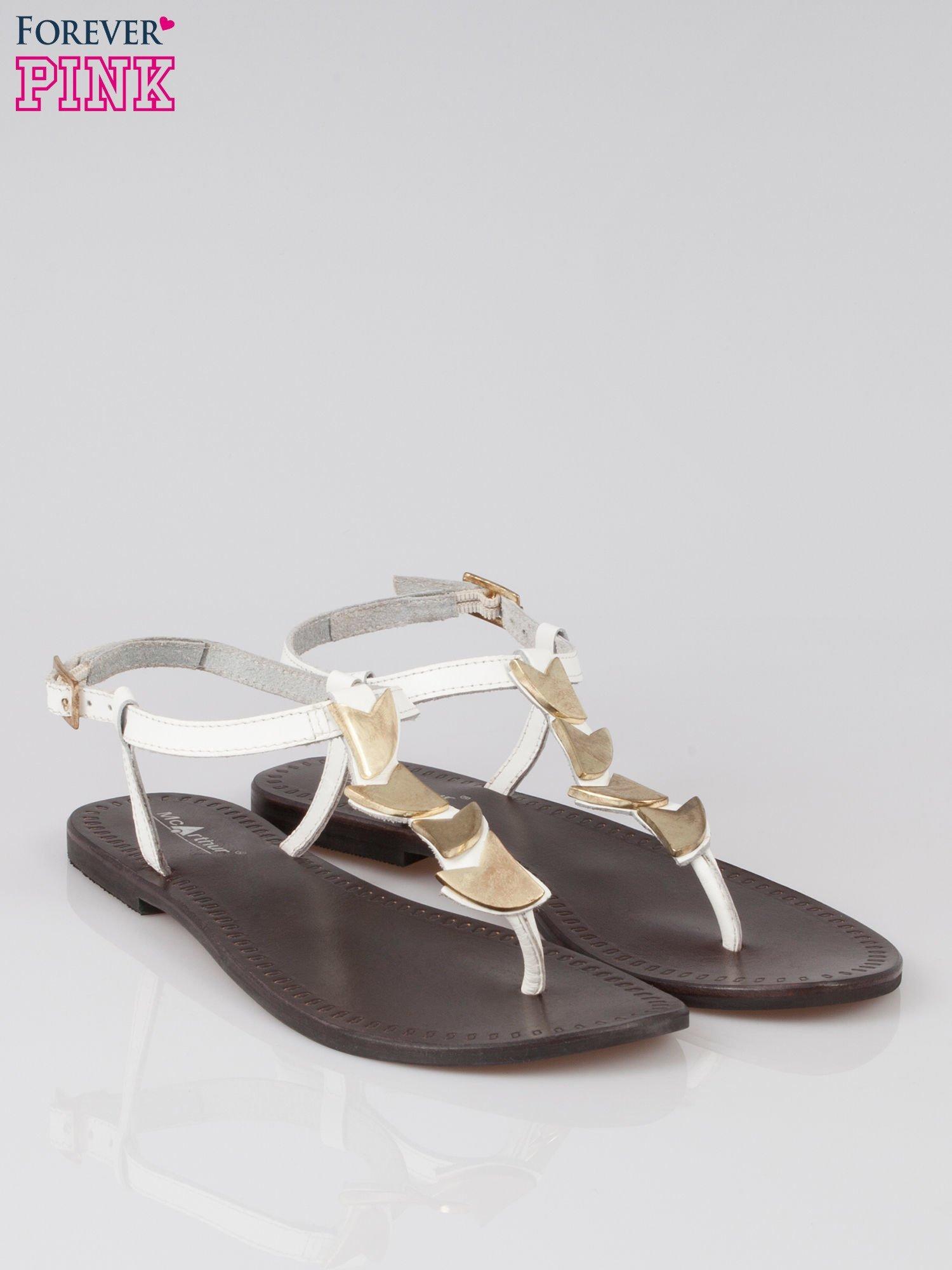 Białe skórzane sandały japonki ze złotą aplikacją Magic                                  zdj.                                  2