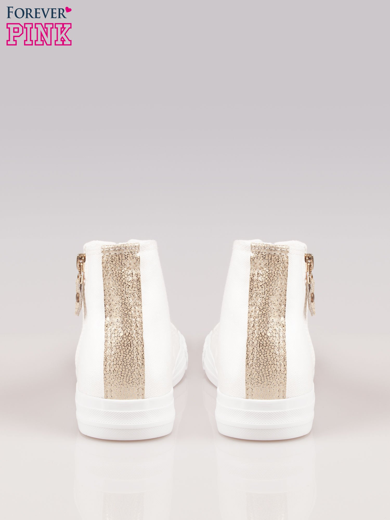 Białe sneakersy gold cap toe z suwakiem z boku                                  zdj.                                  3