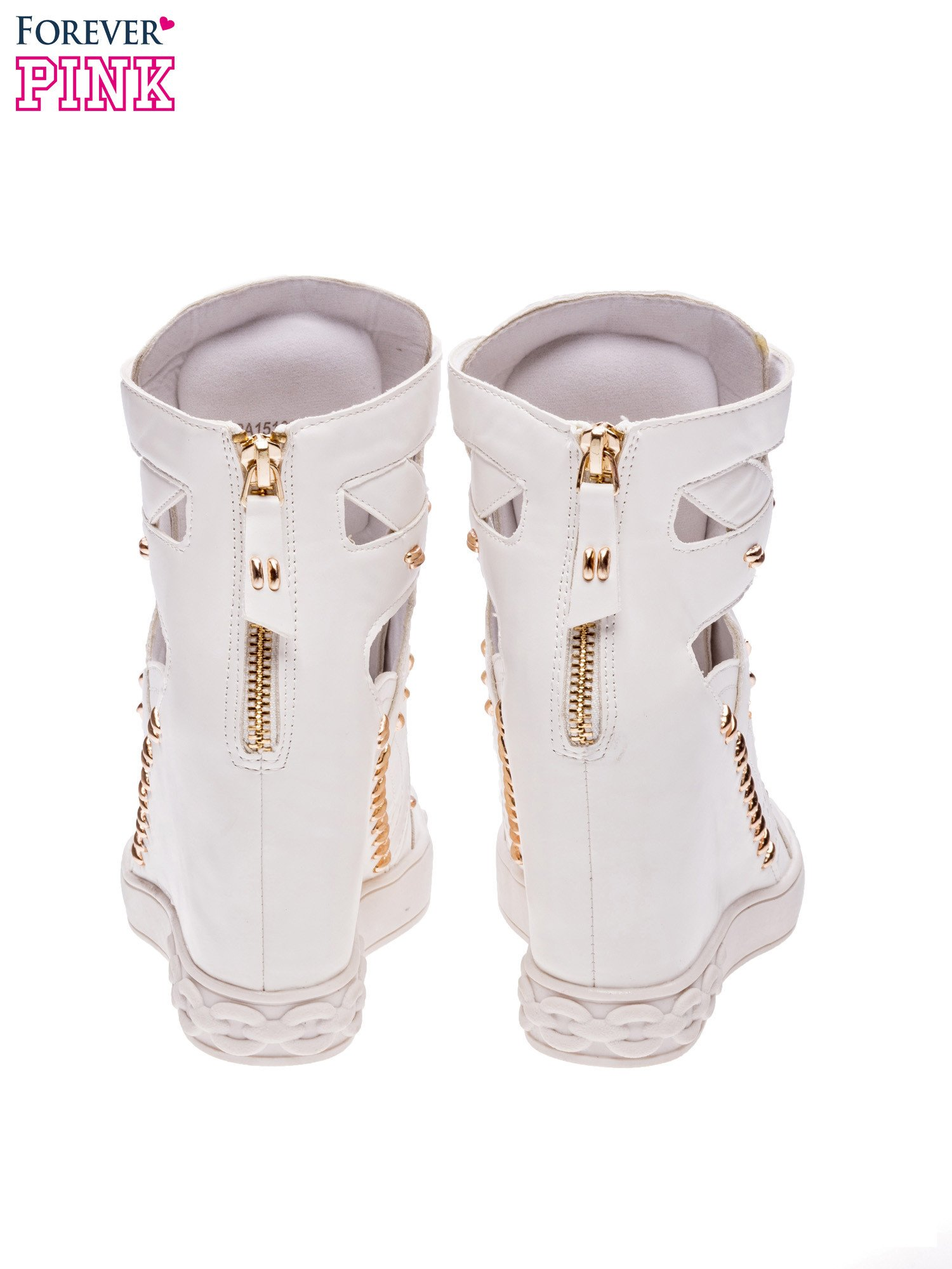 Białe sneakersy ze złotymi elementami                                  zdj.                                  3