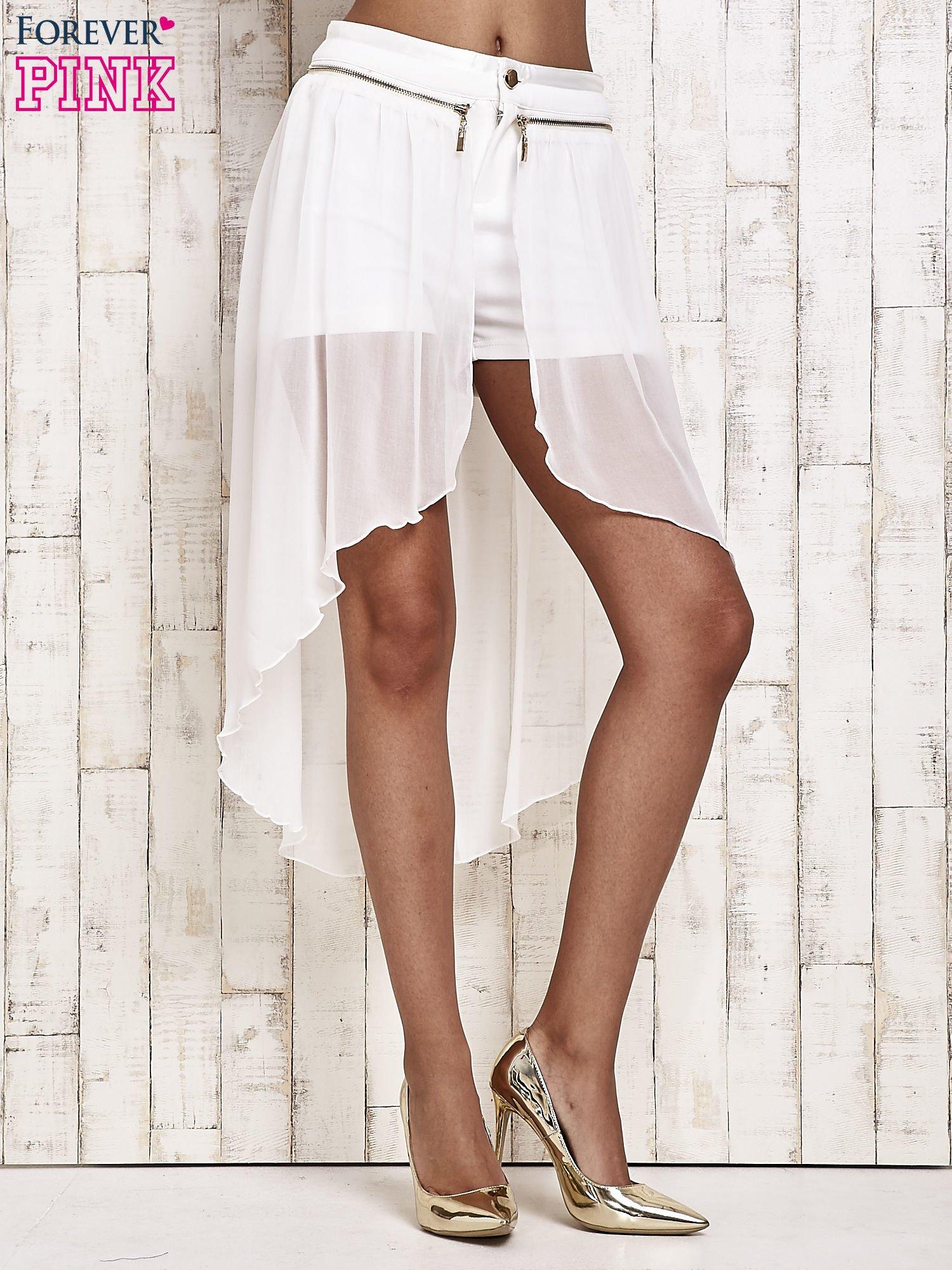 Białe spódnicospodnie z tiulowym trenem                                  zdj.                                  2