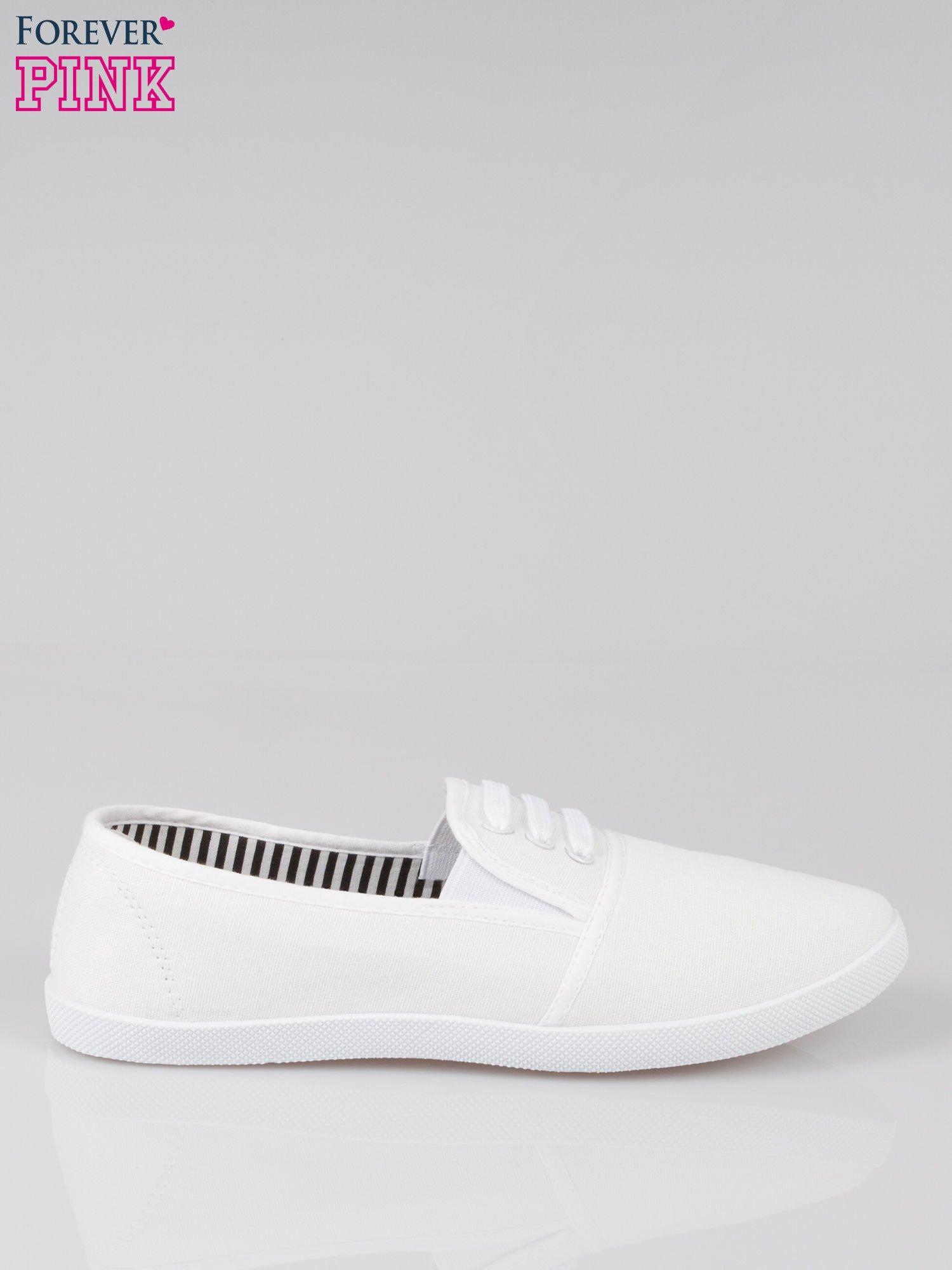 Białe tenisówki sliponki ze sznurówkami                                  zdj.                                  1