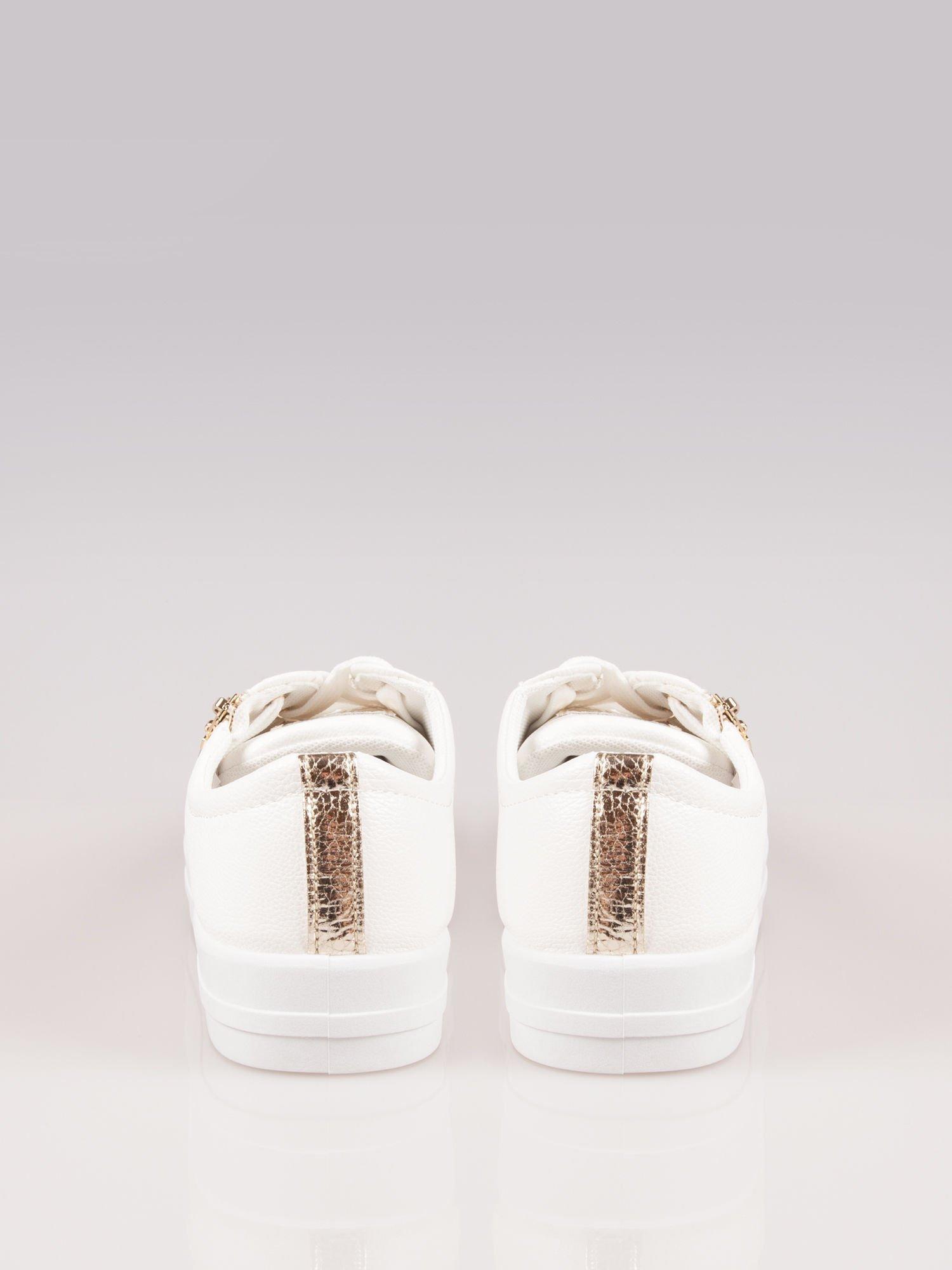 Białe trampki damskie gold cap toe z suwakiem z boku Rallie                                  zdj.                                  3
