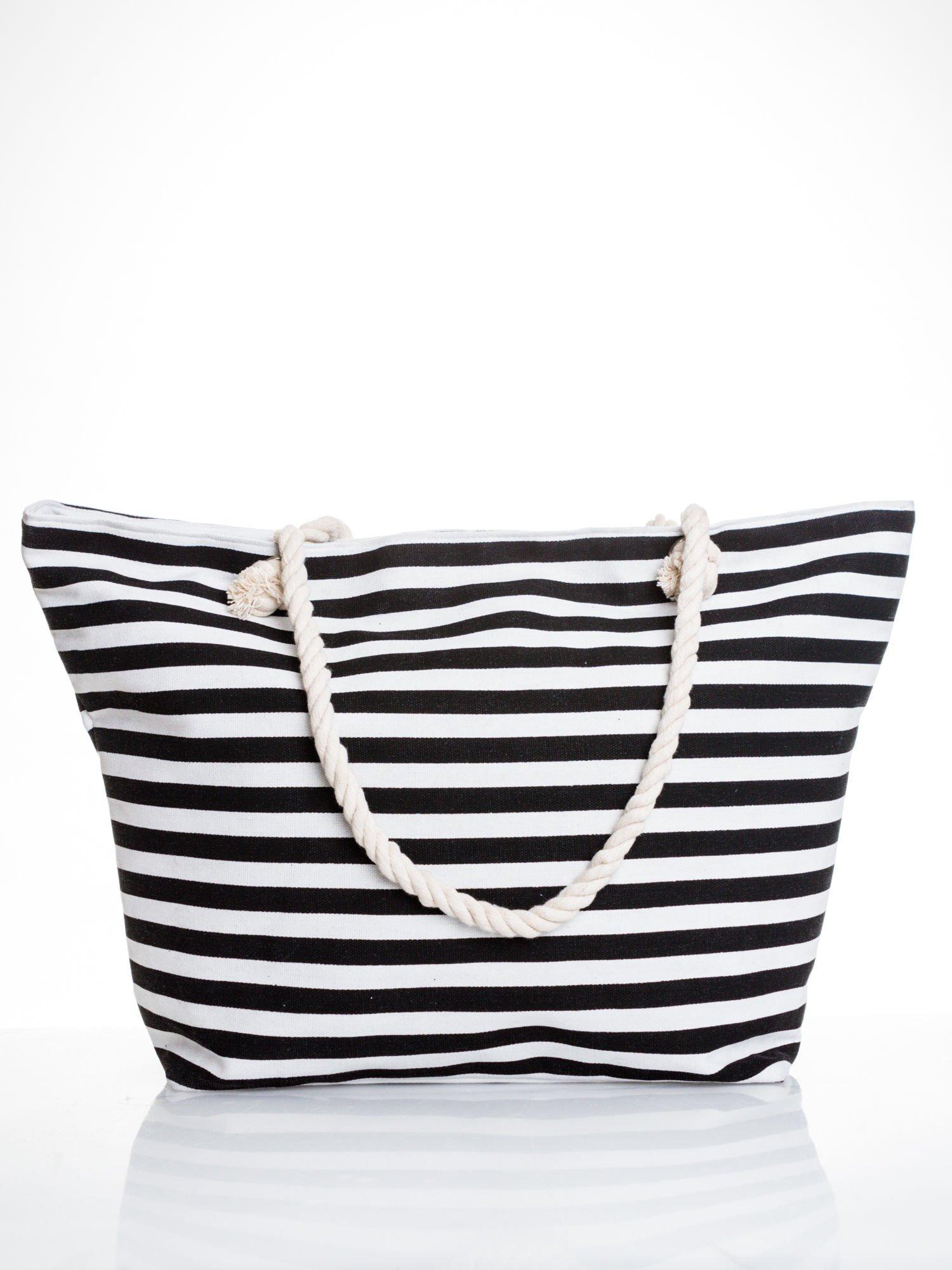 Biało-czarna torba plażowa w paski                                  zdj.                                  1