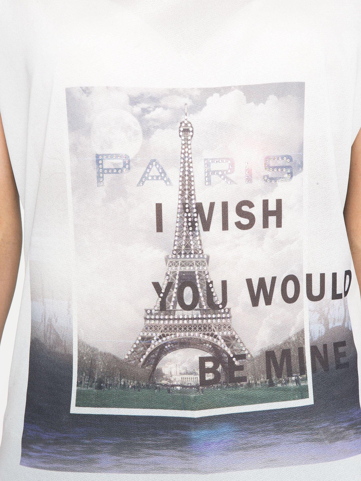 Biało-czarny t-shirt z nadrukiem wieży Eiffla                                   zdj.                                  8