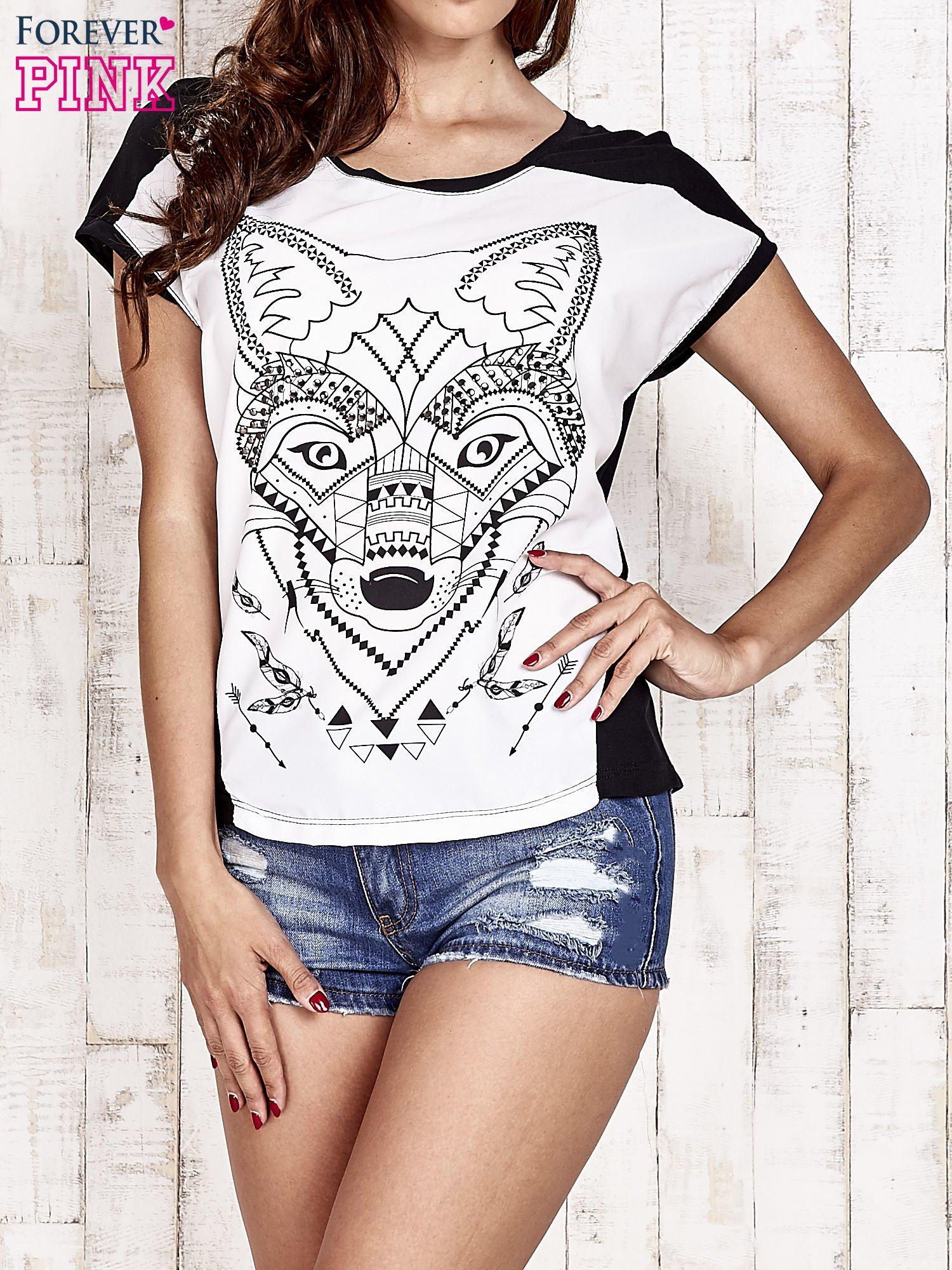 Biało-czarny t-shirt z wilkiem w azteckim stylu                                  zdj.                                  1