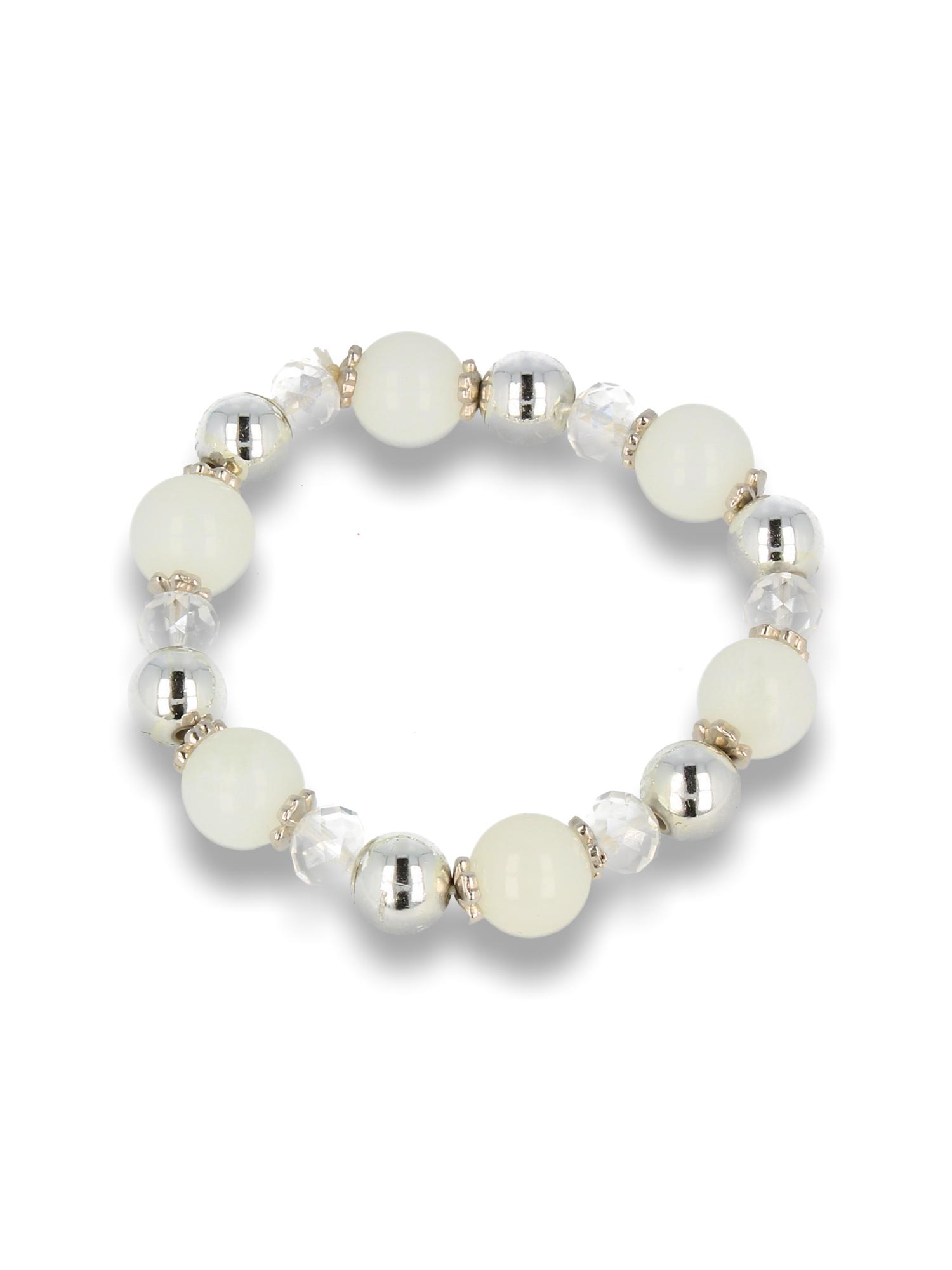 Biało - srebrna Bransoletka koralikowa                                  zdj.                                  1