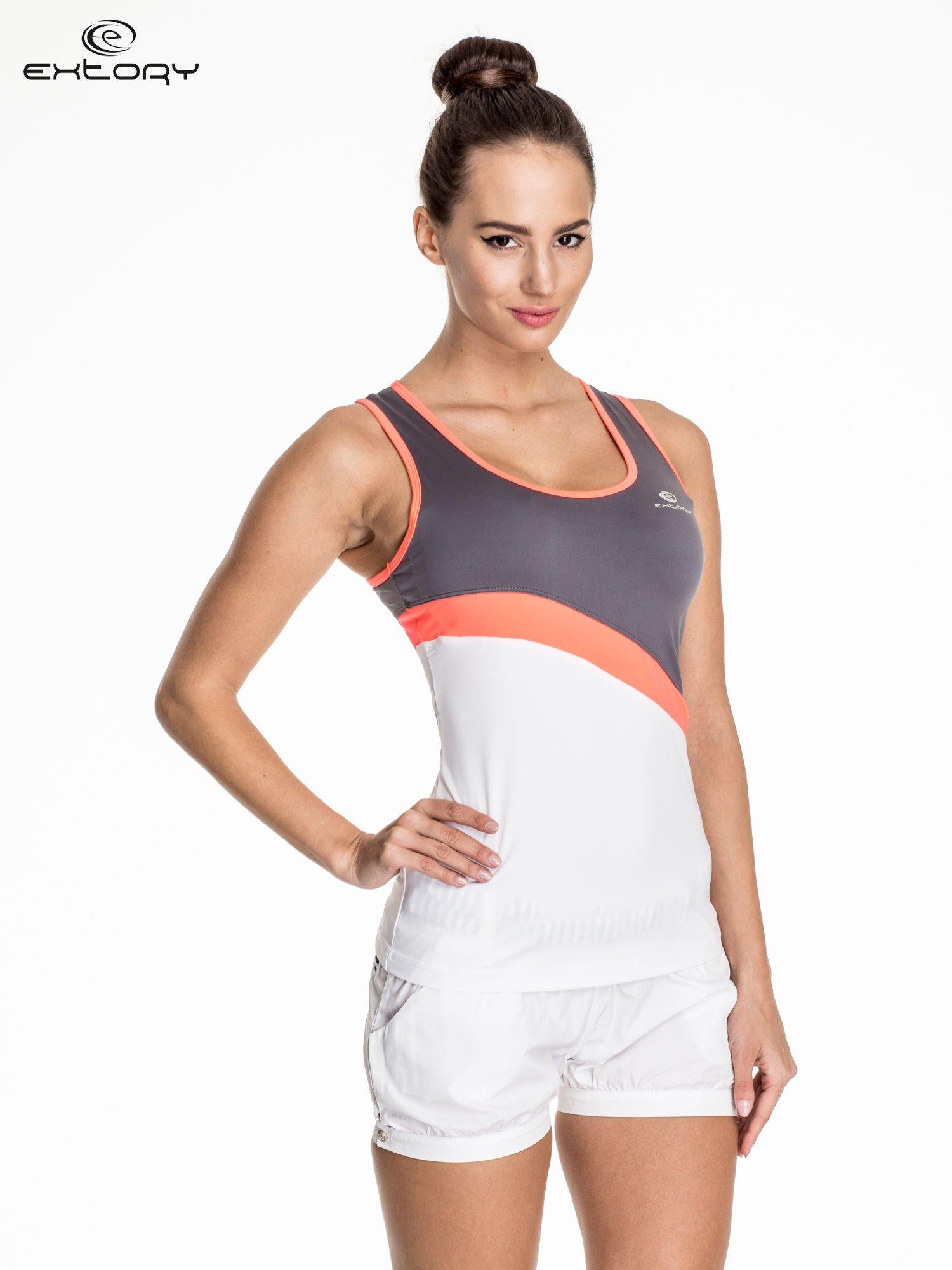 Biały damski top sportowy z szaro-koralowym modułem                                  zdj.                                  1