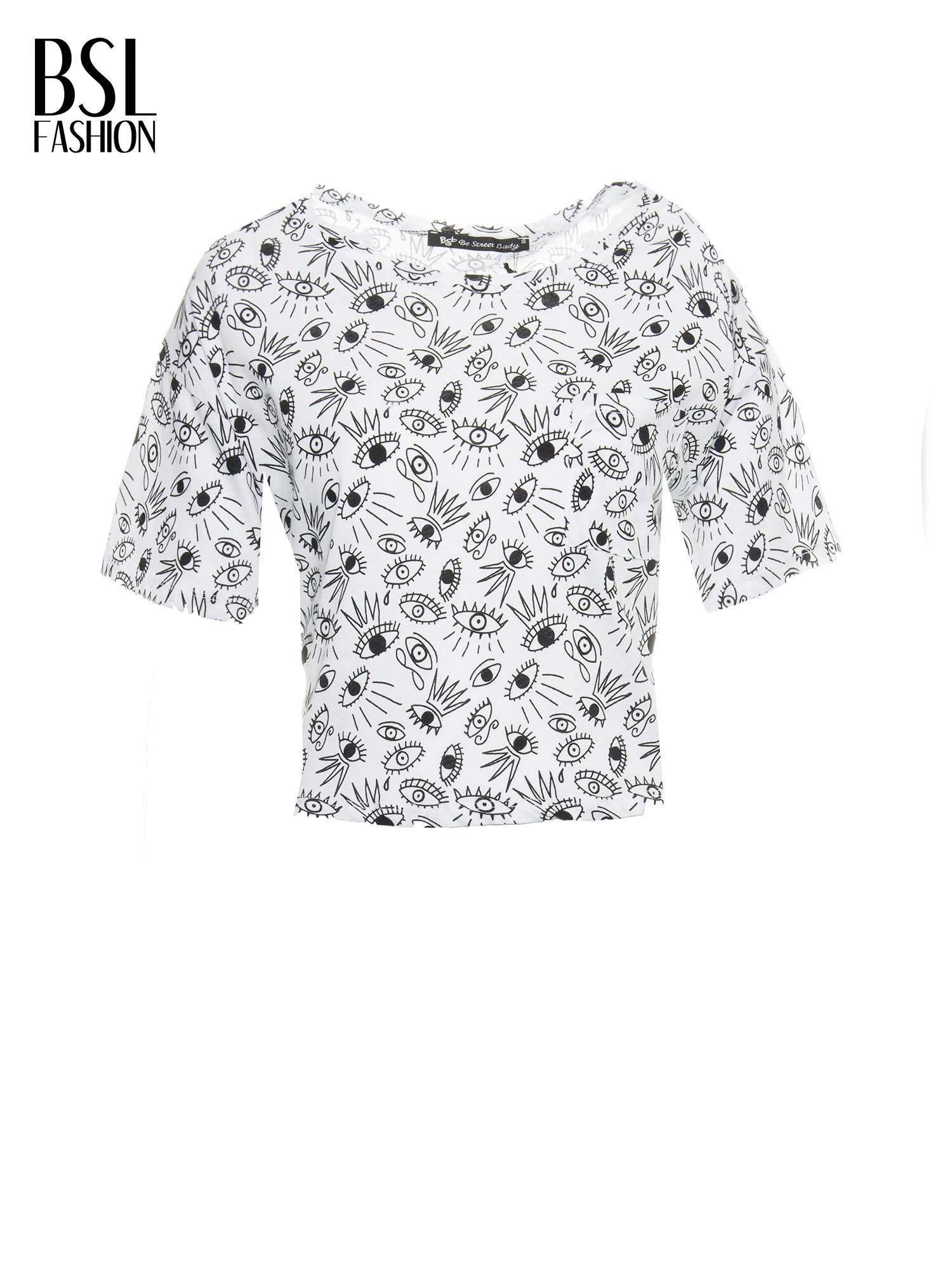 Biały luźny krótki t-shirt z kieszonką w nadruk oczu                                  zdj.                                  2