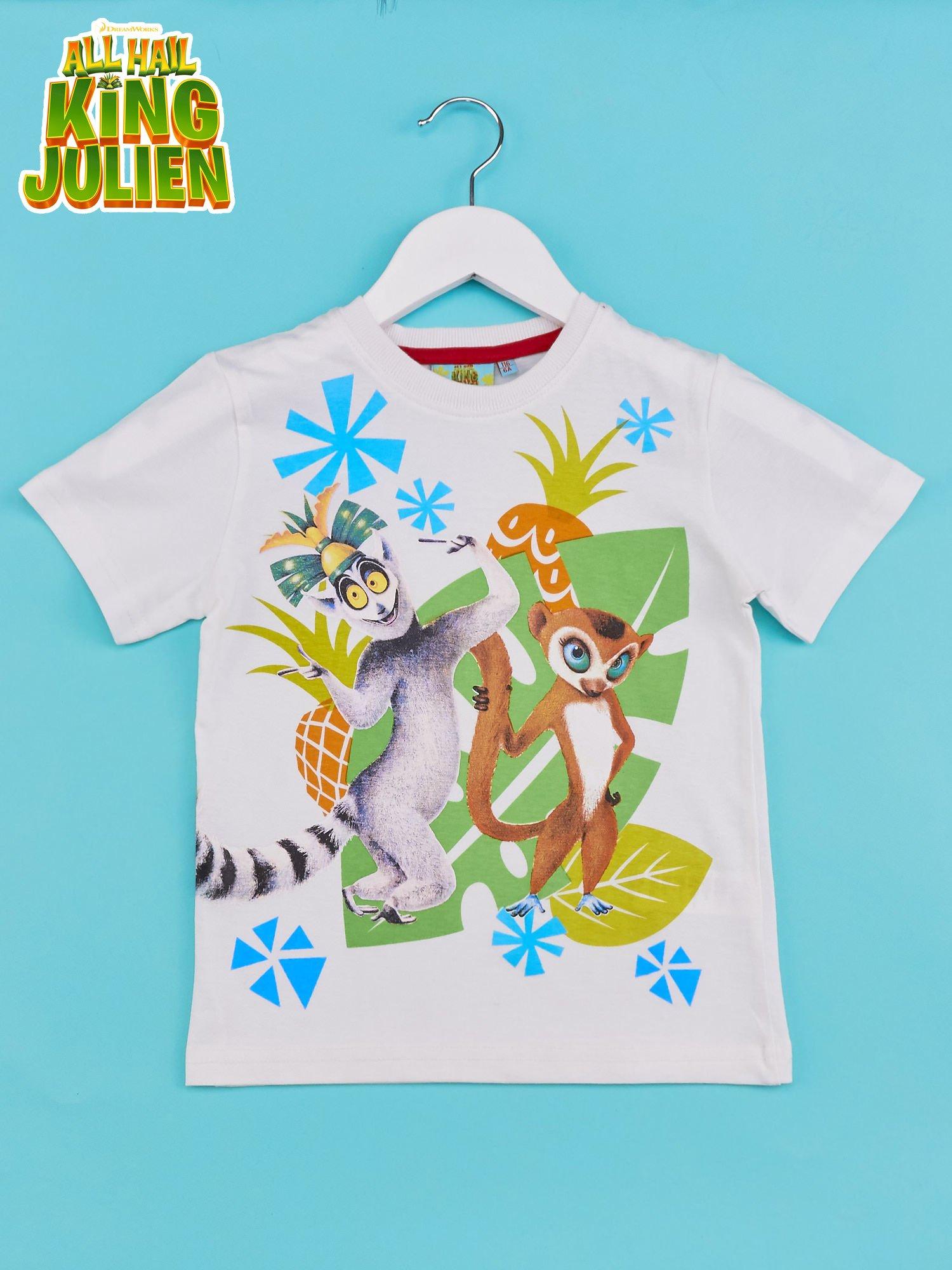 Biały t-shirt chłopięcy KRÓL JULIAN                                  zdj.                                  1