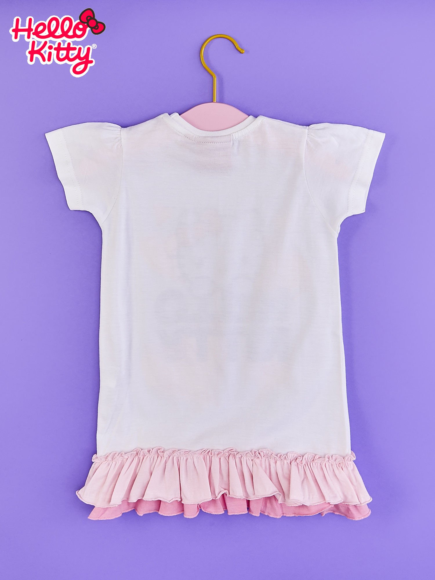Biały t-shirt dla dziewczynki z motywem HELLO KITTY                                  zdj.                                  2