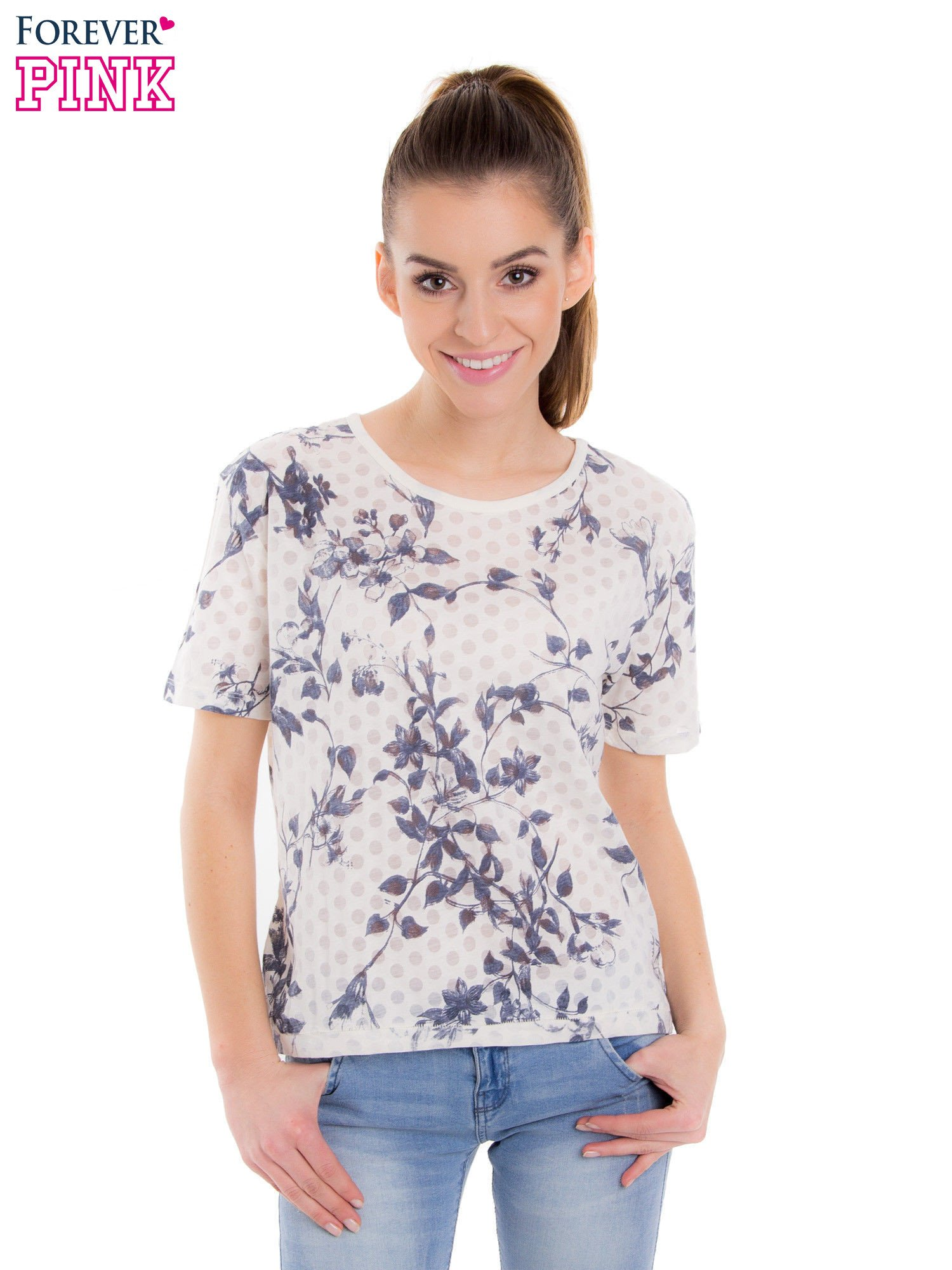 Biały t-shirt z all over floral printem                                  zdj.                                  1