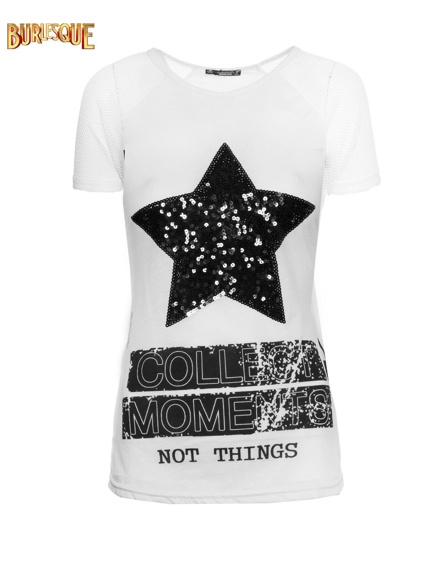 Biały t-shirt z gwiazdą z cekinów                                  zdj.                                  1