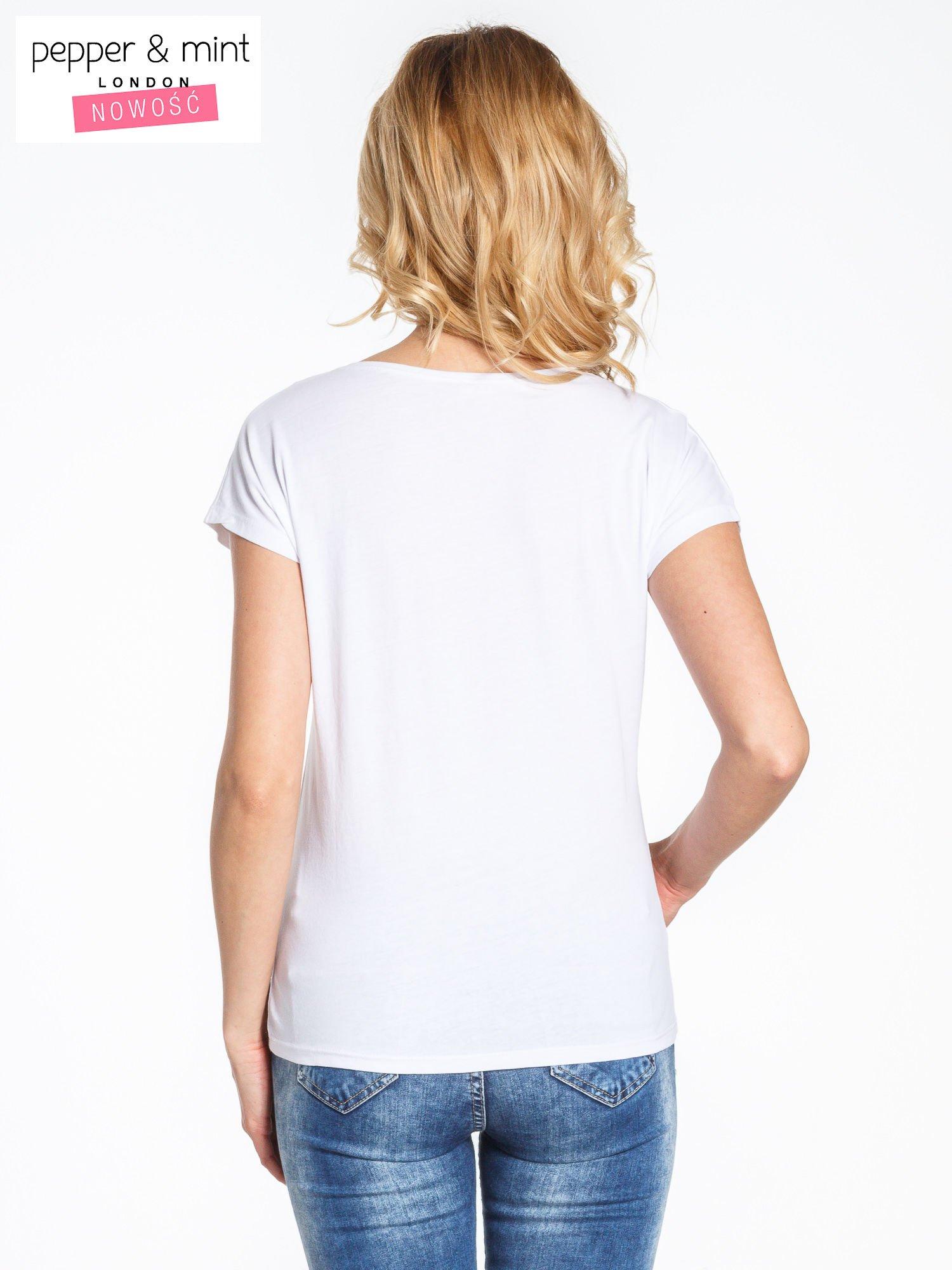 Biały t-shirt z nadrukiem DO SOMETHING AWESOME TODAY                                  zdj.                                  4