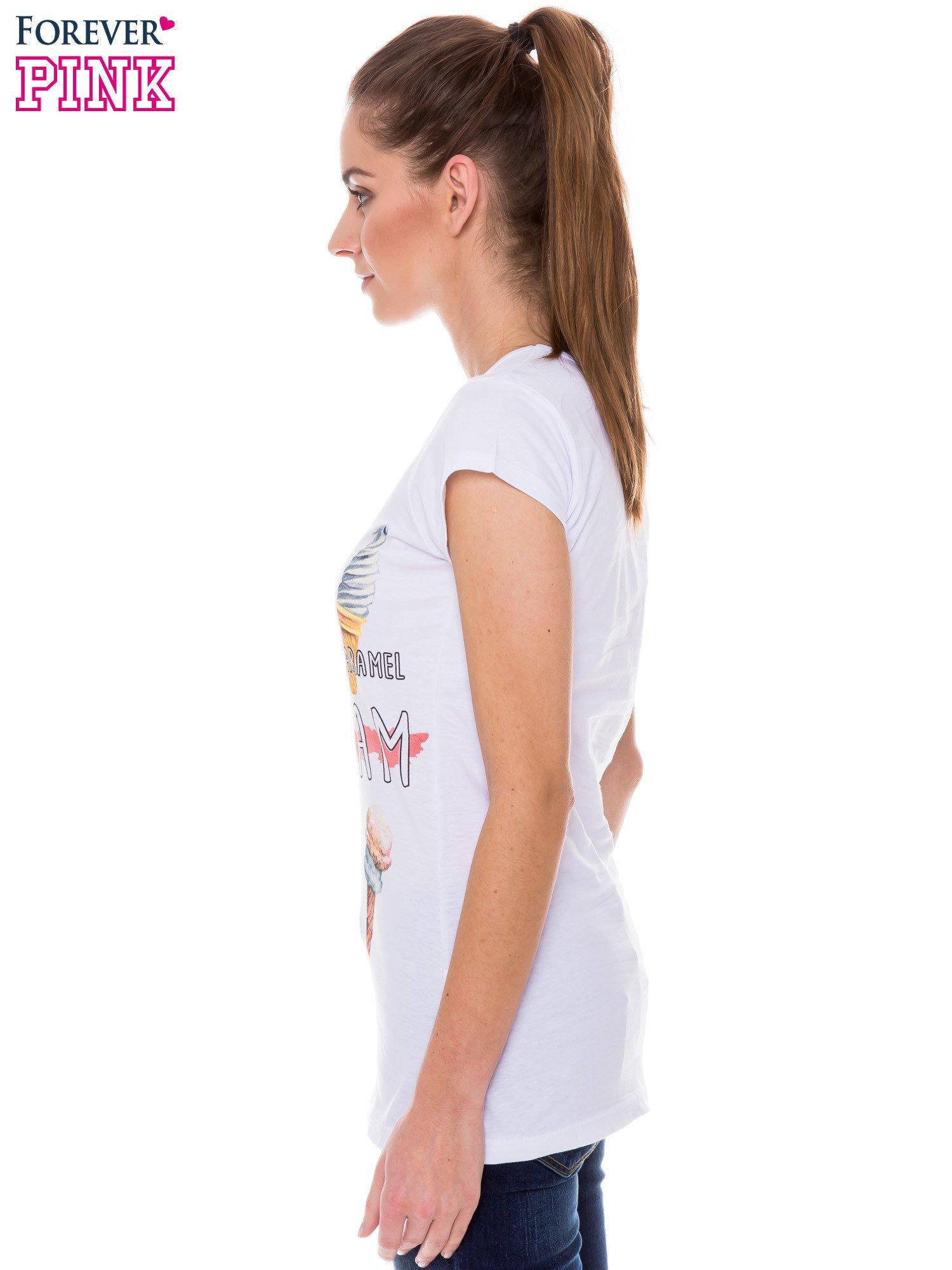 Biały t-shirt z nadrukiem ICE CREAM                                  zdj.                                  2