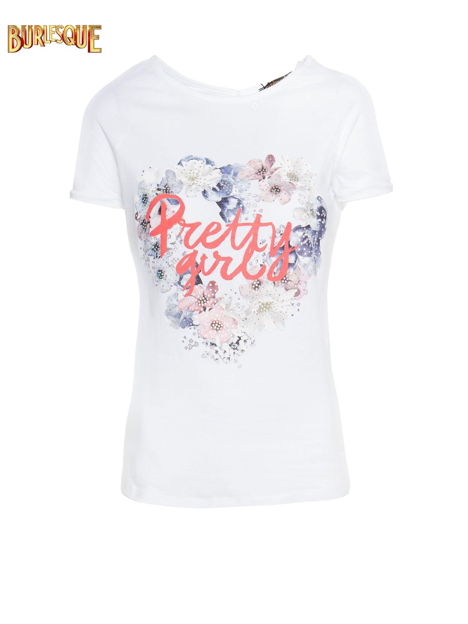 Biały t-shirt z nadrukiem kwiatowym PRETTY GIRL                                  zdj.                                  1