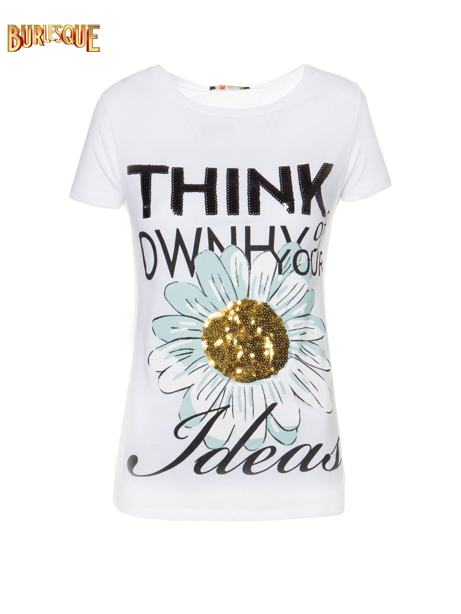 Biały t-shirt z nadrukiem stokrotki z dżetami                                  zdj.                                  1