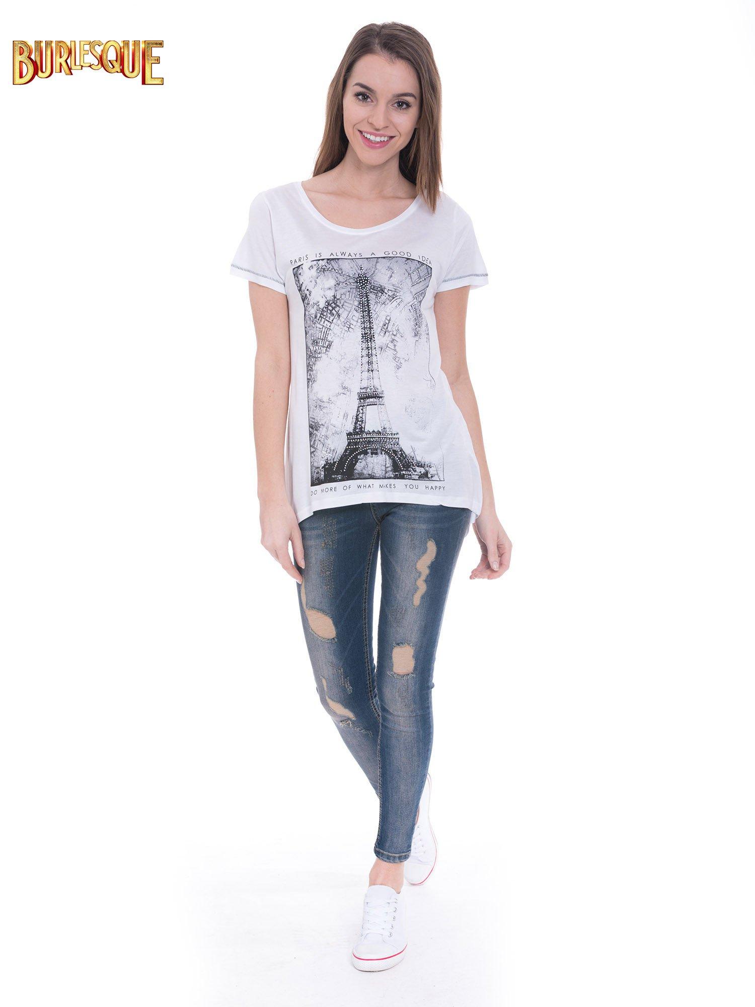 Biały t-shirt z nadrukiem wieży Eiffla                                  zdj.                                  2