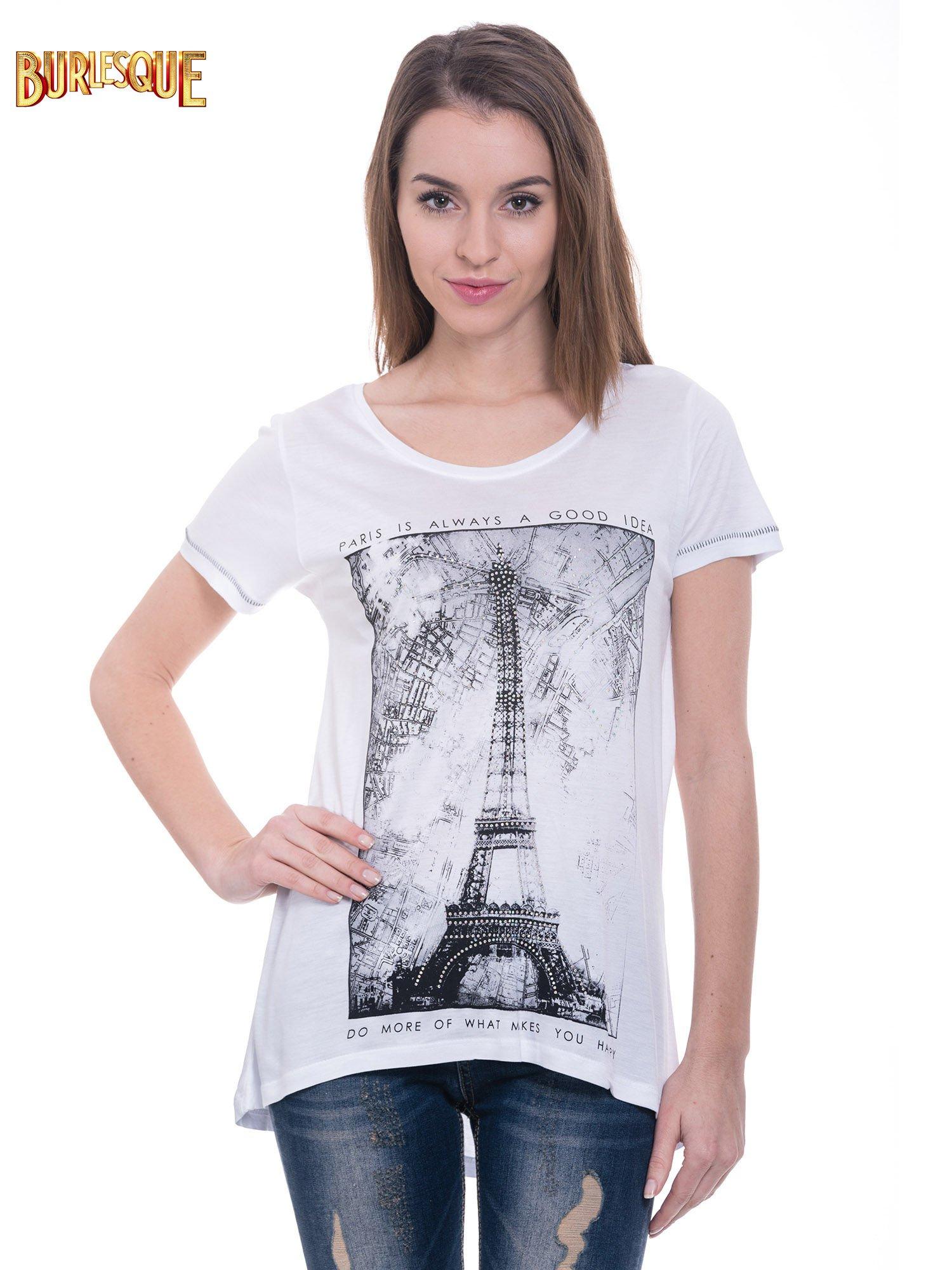 Biały t-shirt z nadrukiem wieży Eiffla                                  zdj.                                  1