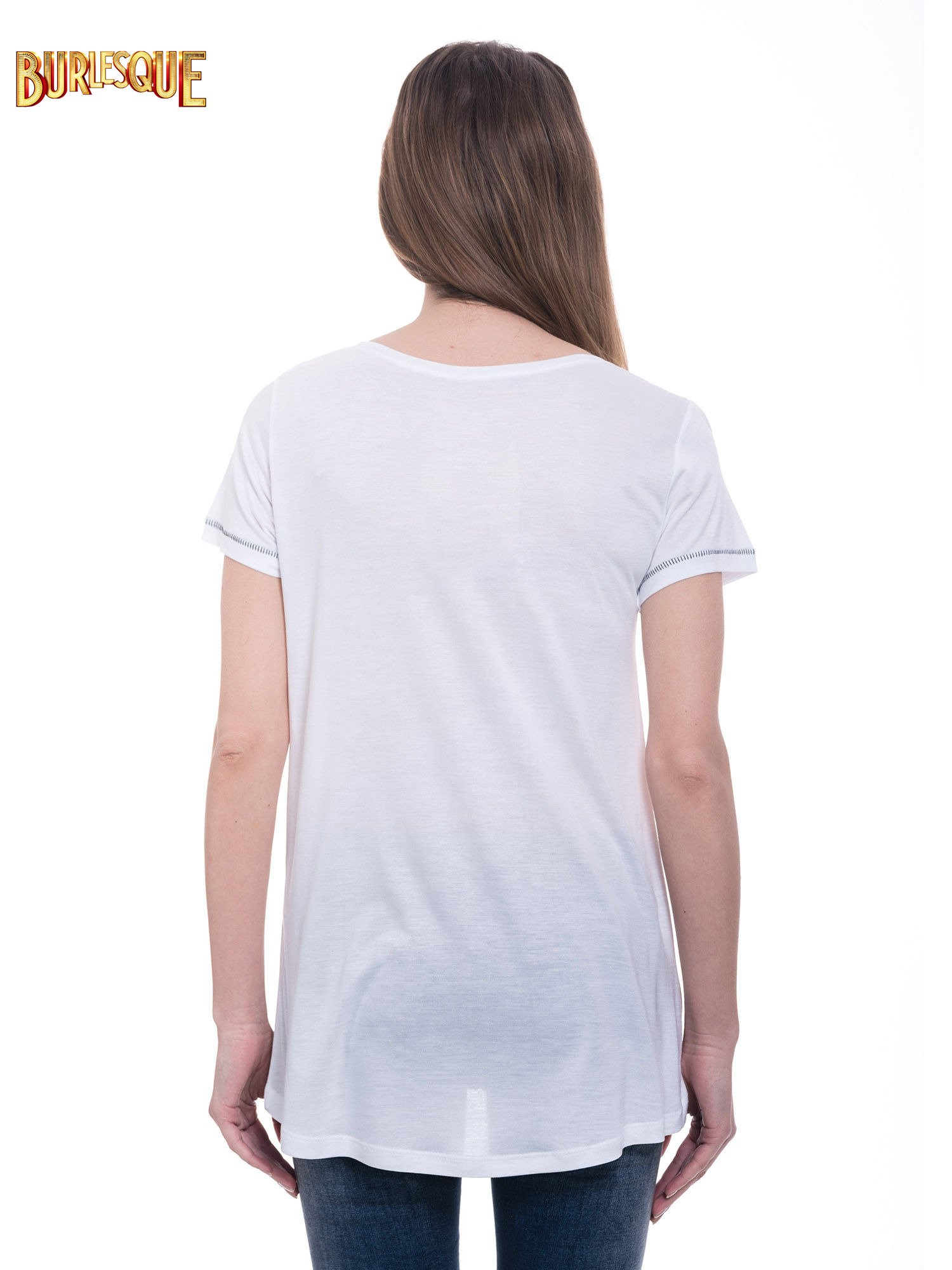 Biały t-shirt z nadrukiem wieży Eiffla                                  zdj.                                  5