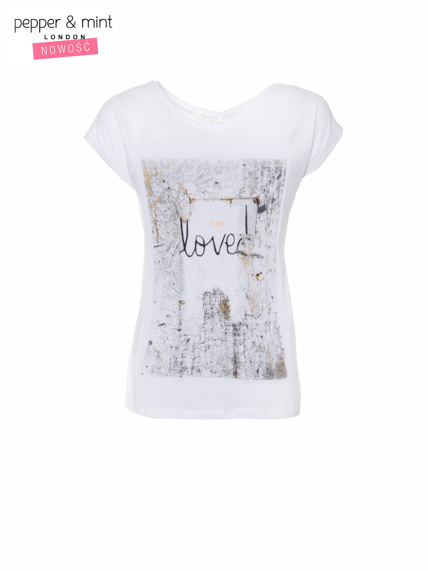 Biały t-shirt z napisem SHE LOVED                                  zdj.                                  2