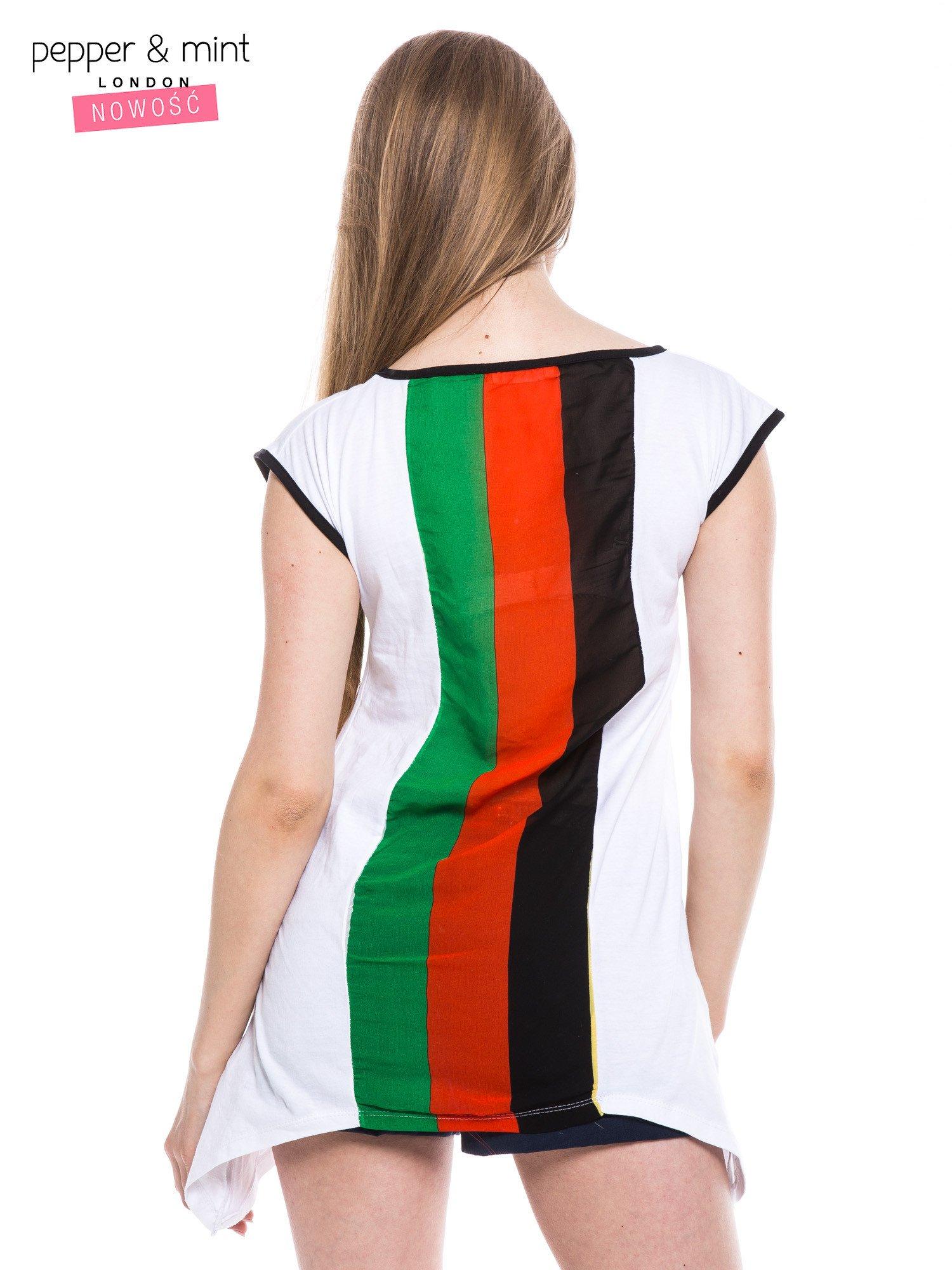 Biały t-shirt z wydłużonymi bokami i paskami z tyłu                                  zdj.                                  3