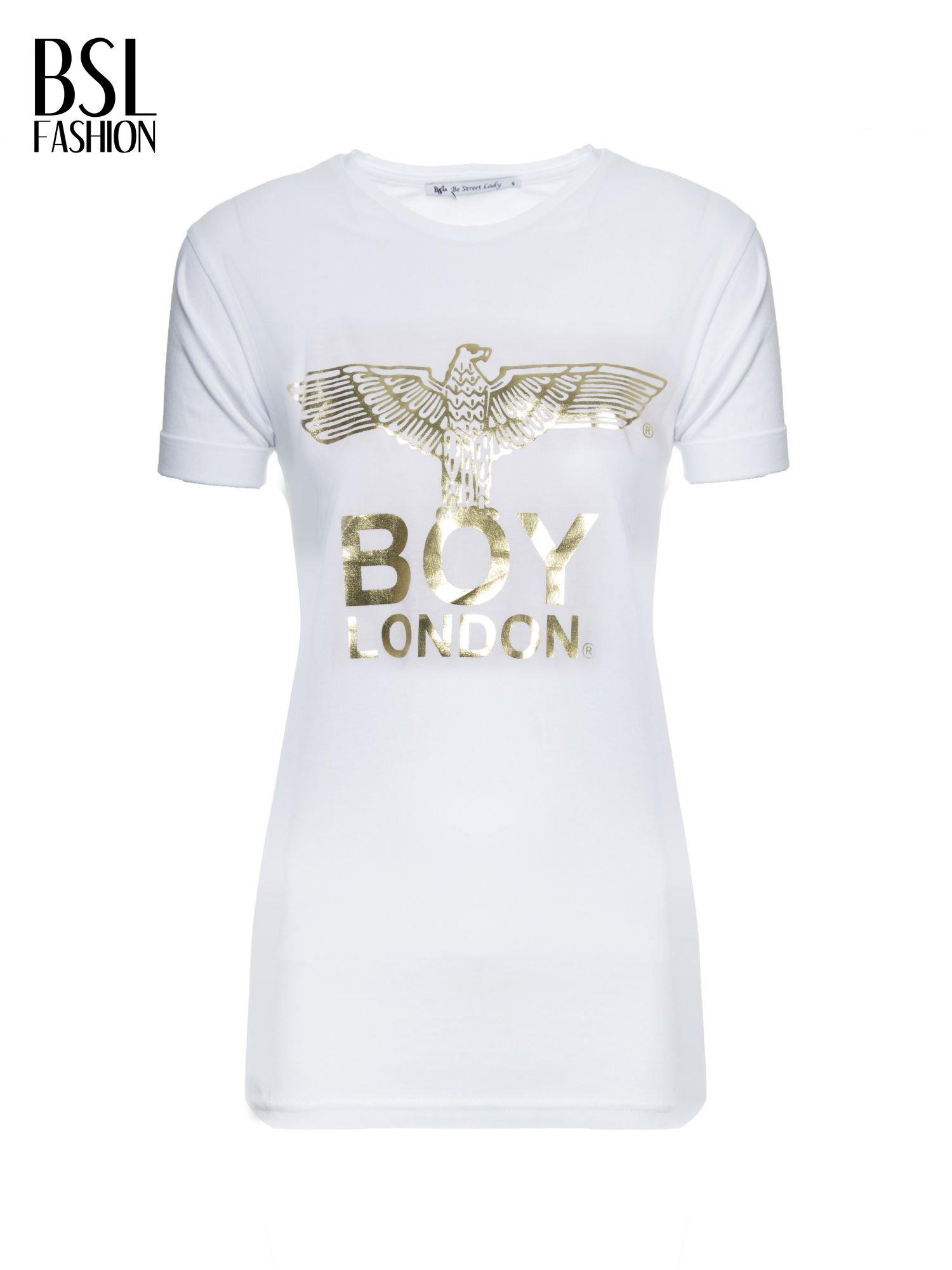 Biały t-shirt ze złotym nadrukiem orła i napisem BOY LONDON                                  zdj.                                  7