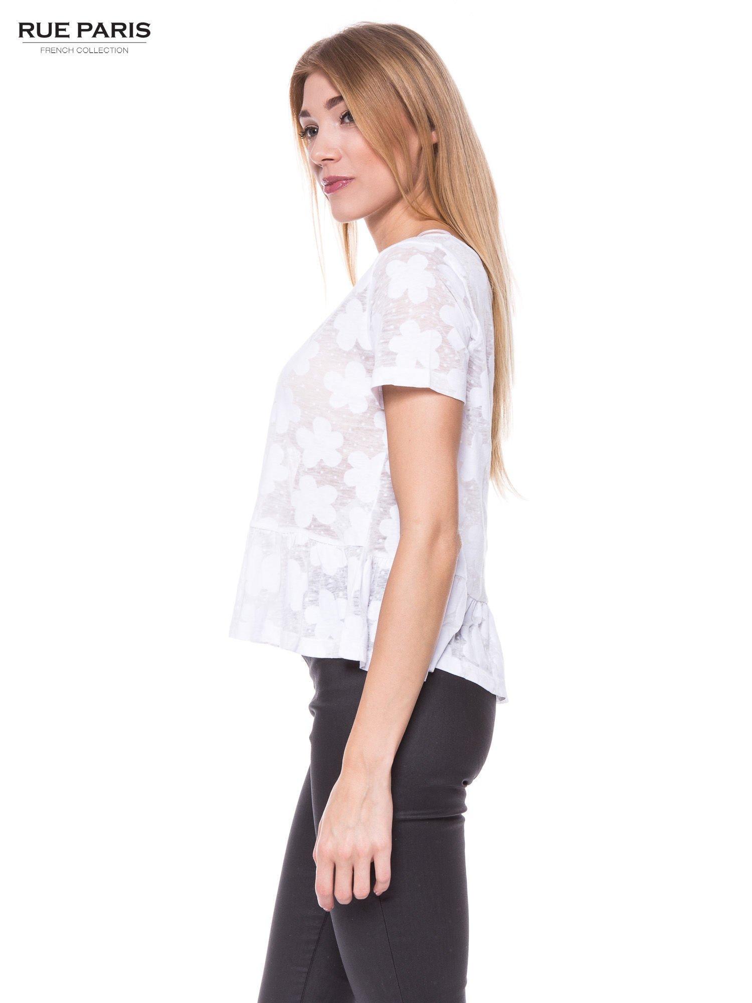 Biały transparentny t-shirt w kwiaty z baskinką                                  zdj.                                  2