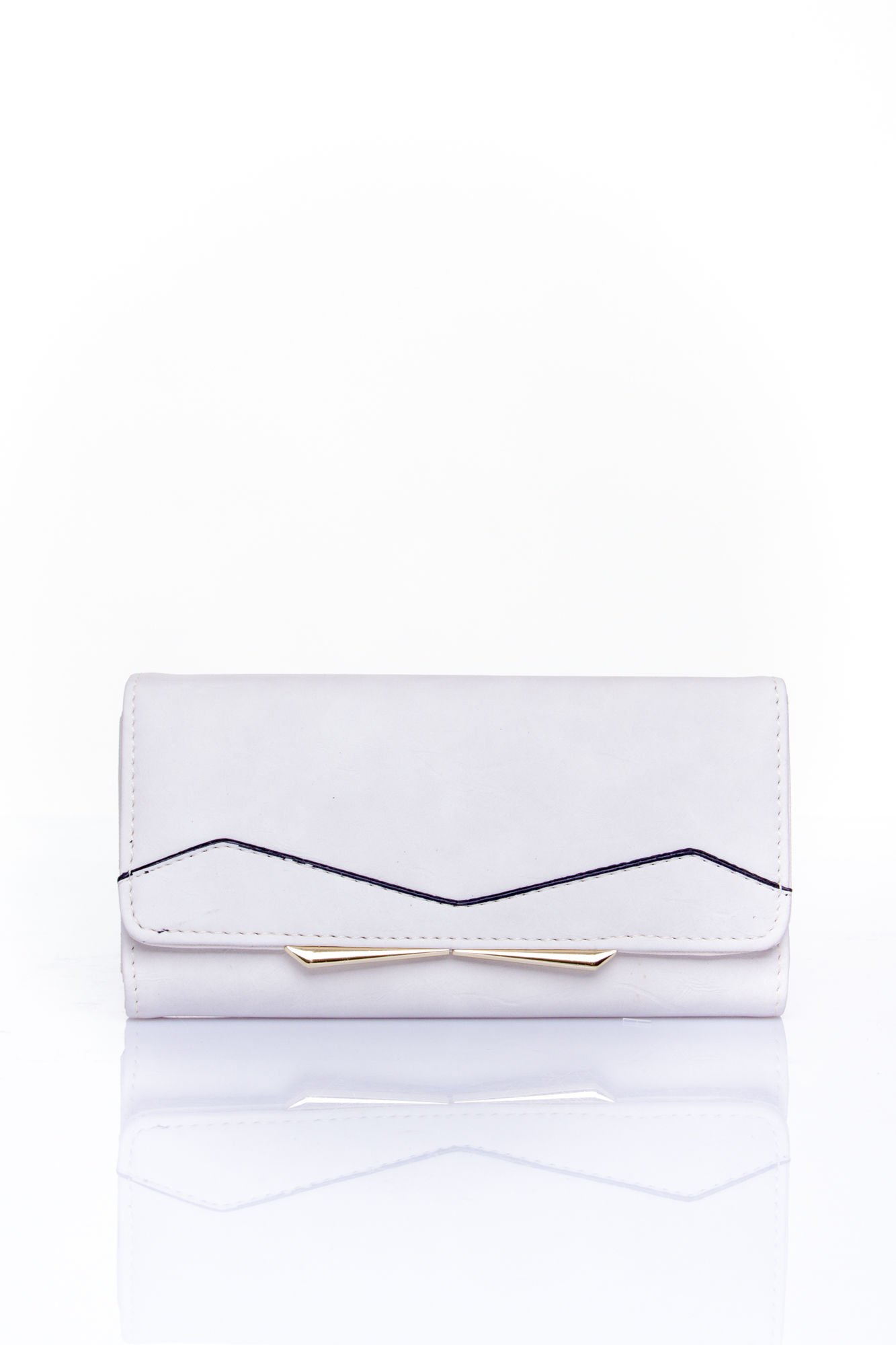 Biały zamszowy portfel z geometrycznym motywem                                  zdj.                                  1