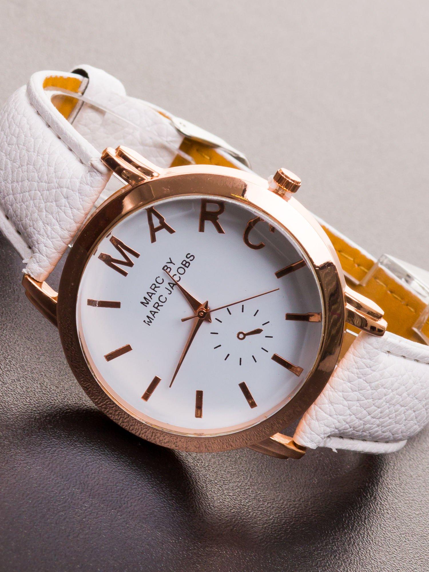 Biały zegarek damski na skórzanym pasku                                  zdj.                                  2