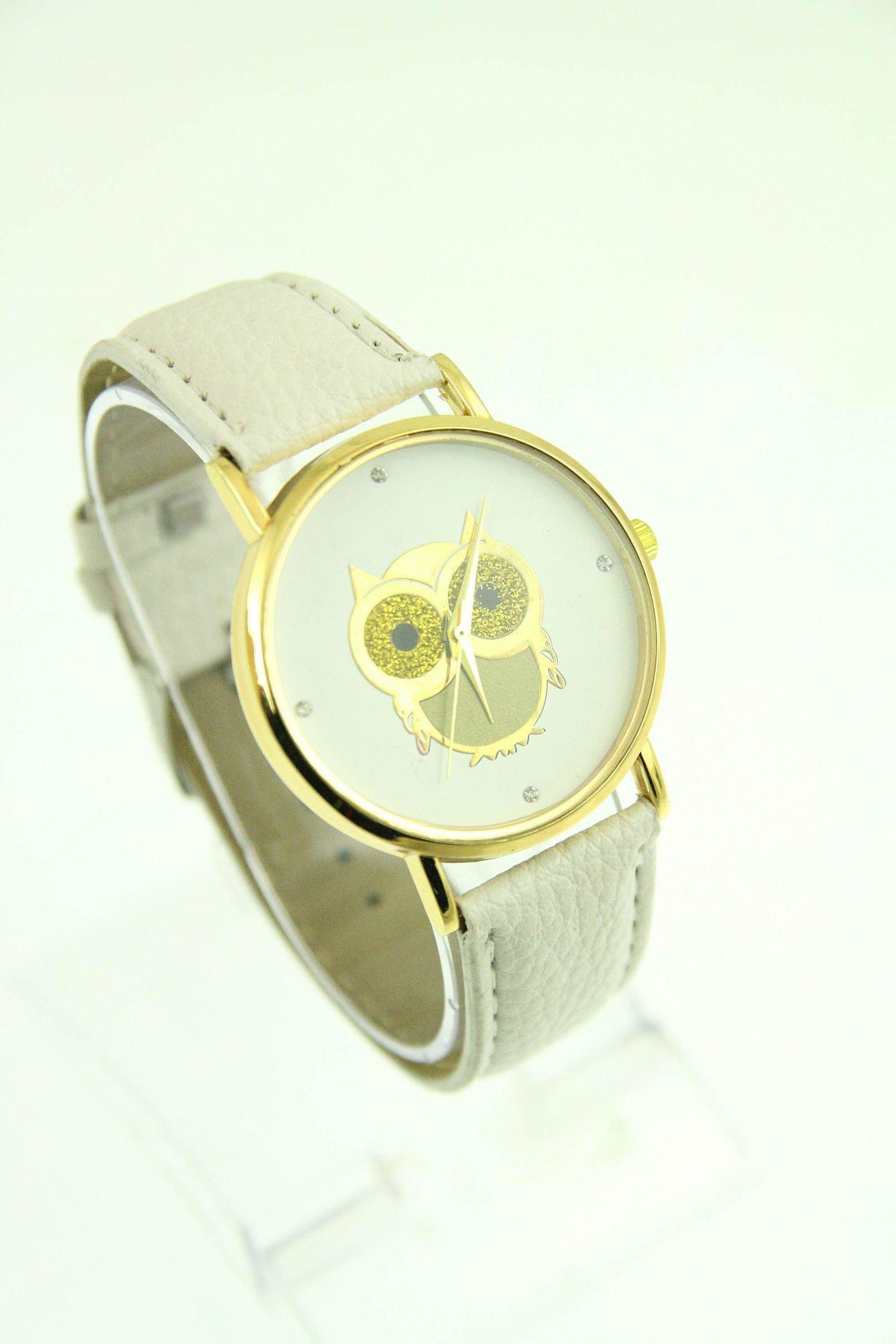 Biały zegarek damski z sową na skórzanym pasku                                  zdj.                                  1