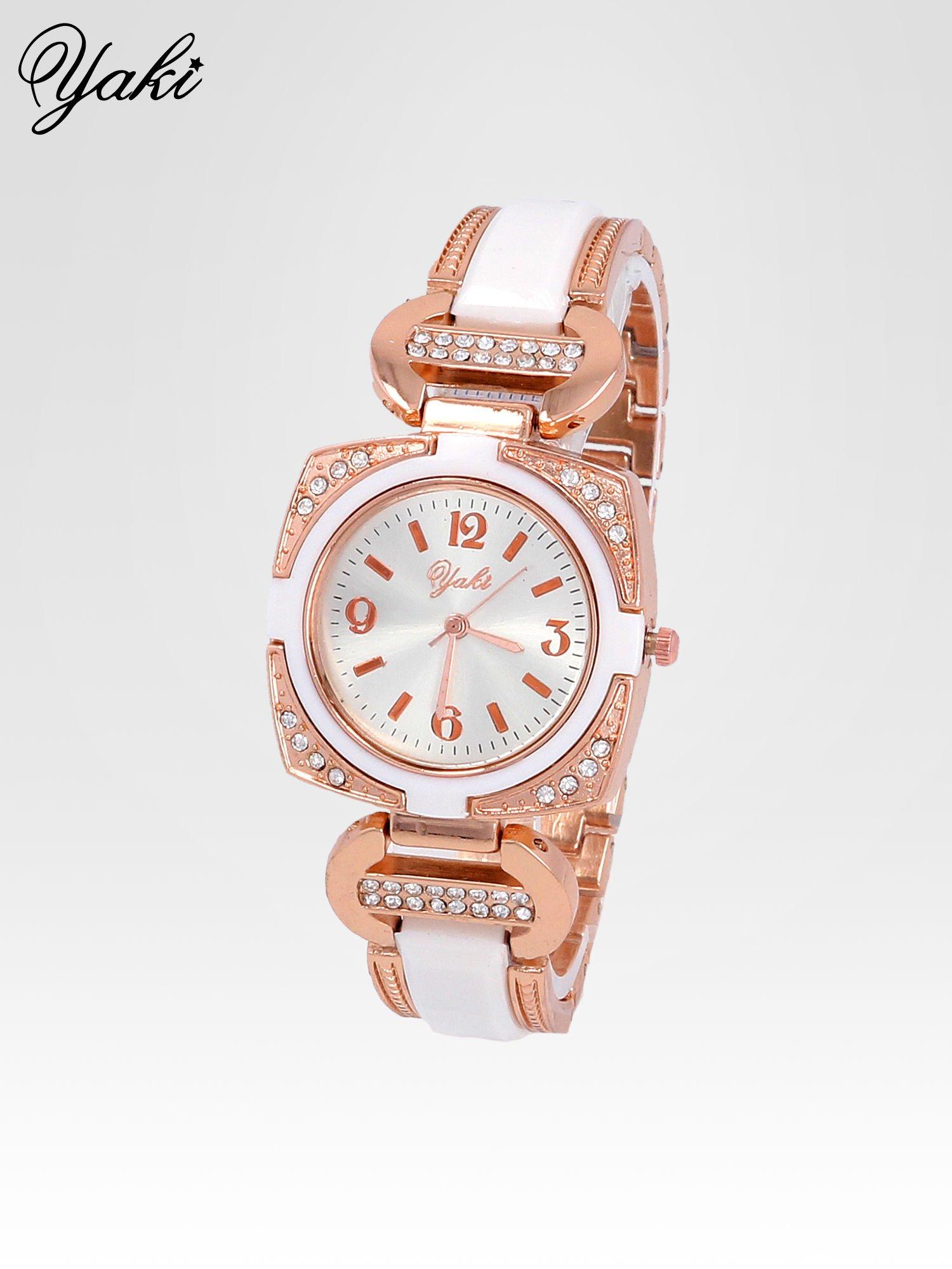 Biżuteryjny zegarek damski w kolorze różowego złota z łączonych materiałów                                  zdj.                                  2