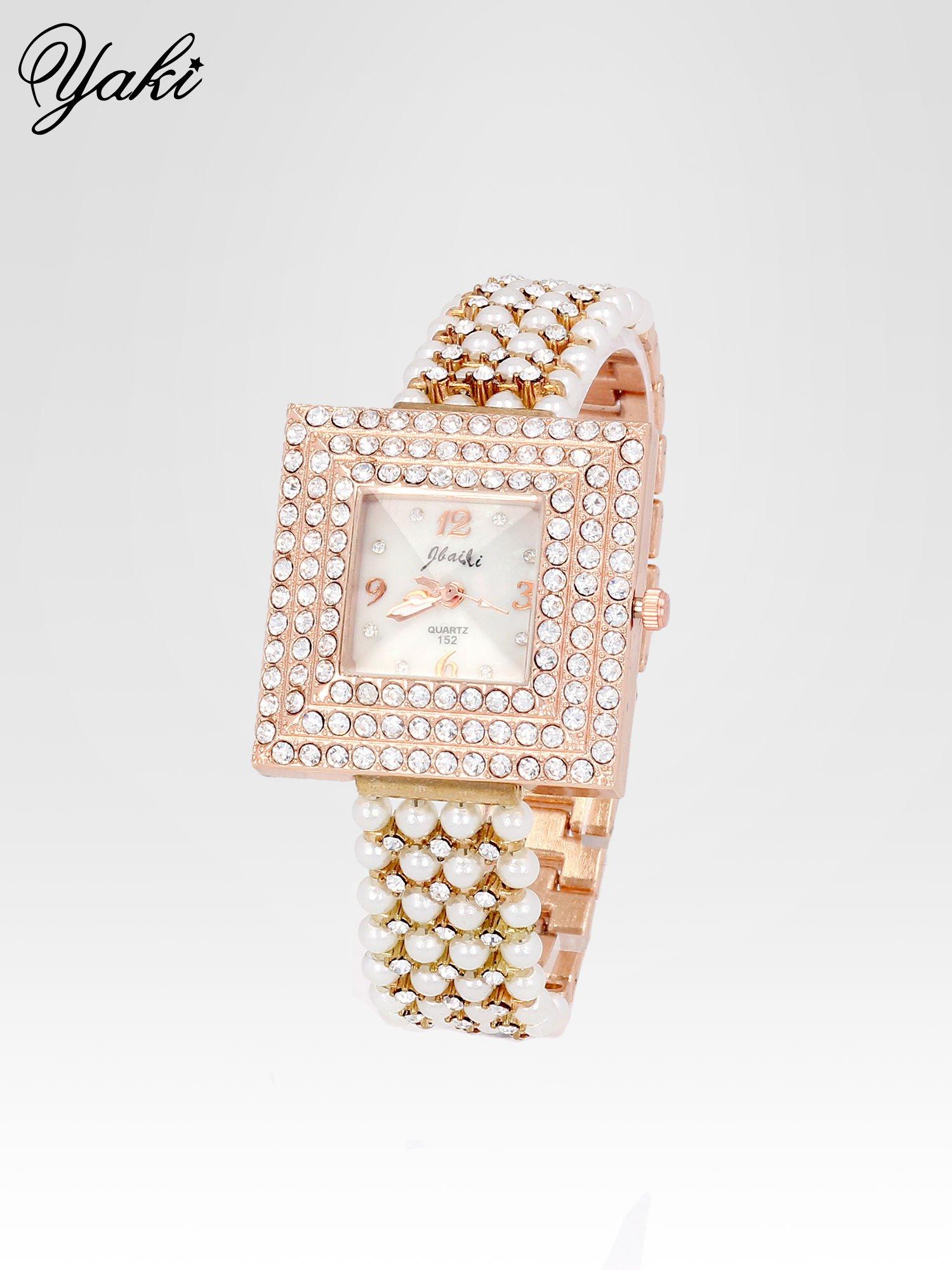 Biżuteryjny zegarek damski z różowego złota na bransolecie z cyrkoniami i perłami                                  zdj.                                  2